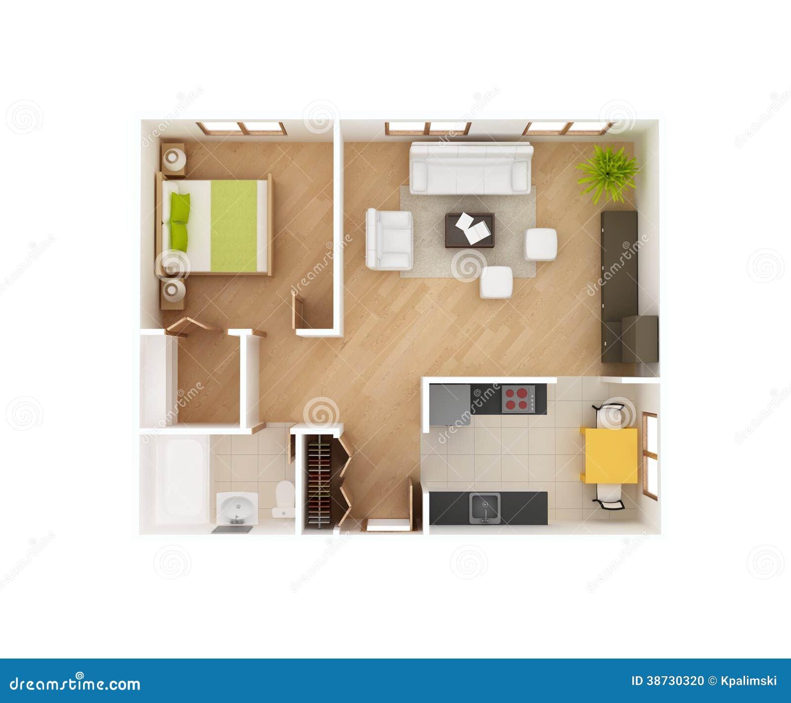 Draufsicht Des Grundrisses Des Hauses 3d Stock Abbildung