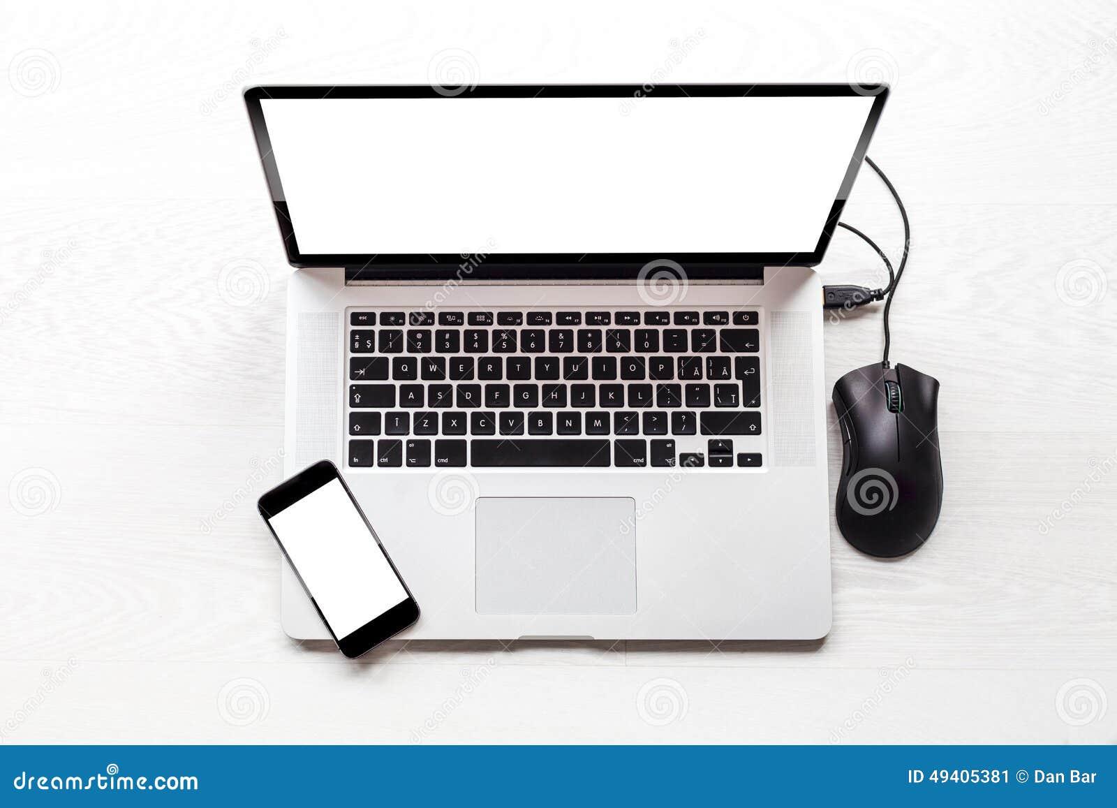 Download Draufsicht des Laptops stockbild. Bild von schreibarbeit - 49405381