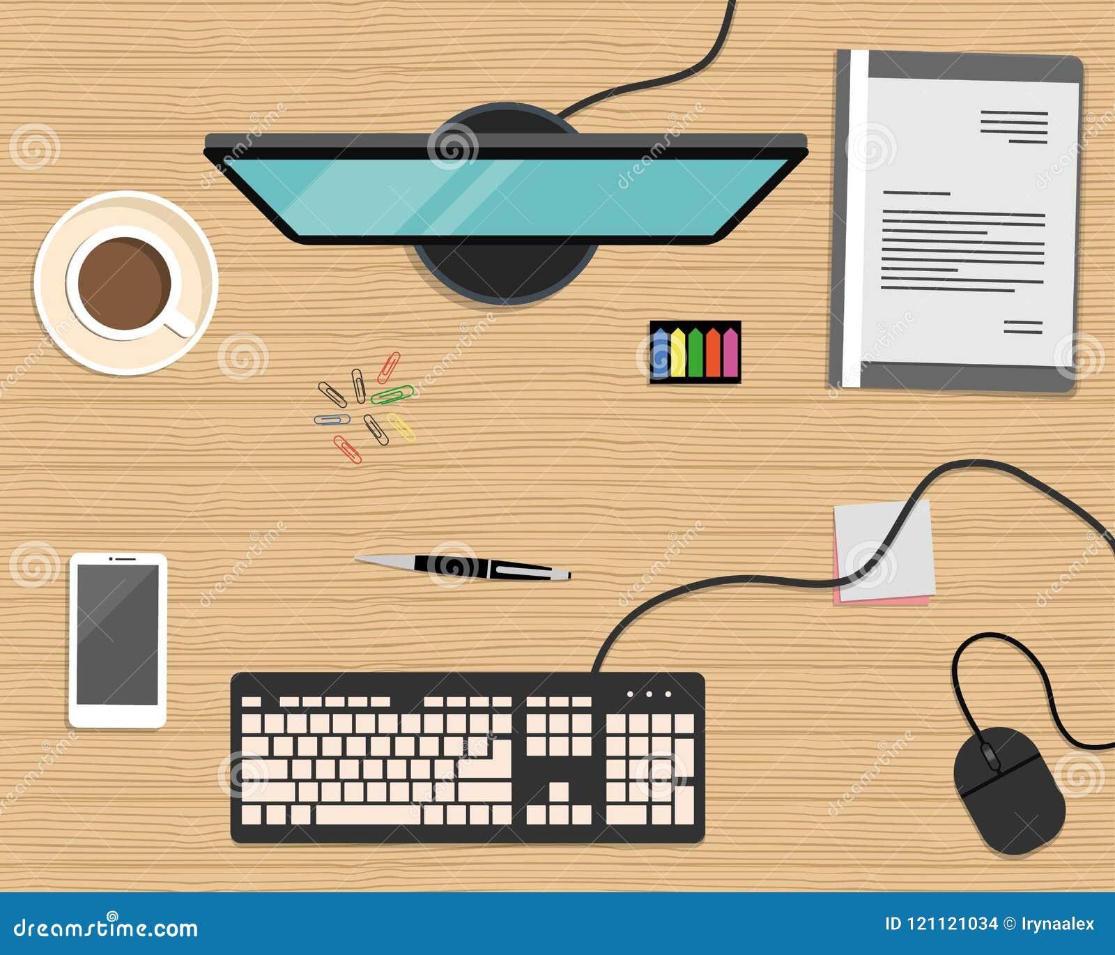 Draufsicht eines Schreibtischhintergrundes Es gibt einen Computer, ein intelligentes Telefon, einen grauen Ordner, ein Briefpapie