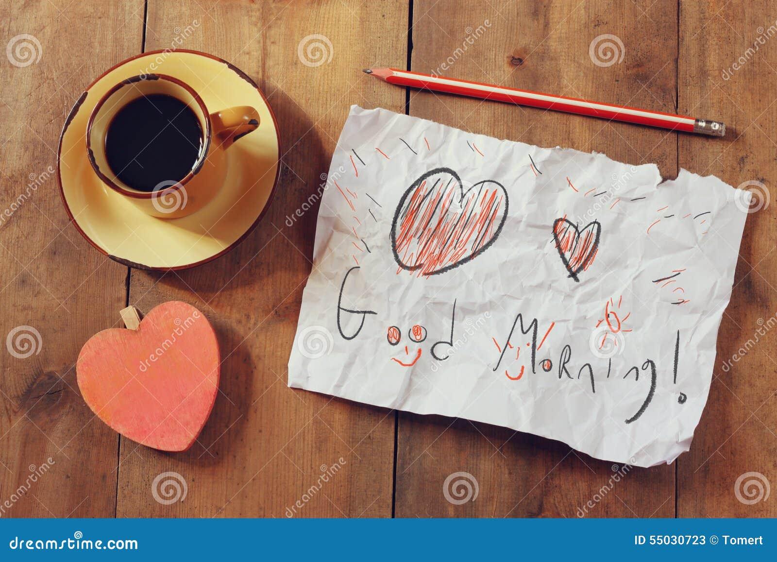 Draufsichtbild Des Papiers Mit Dem Guten Morgen Des Textes