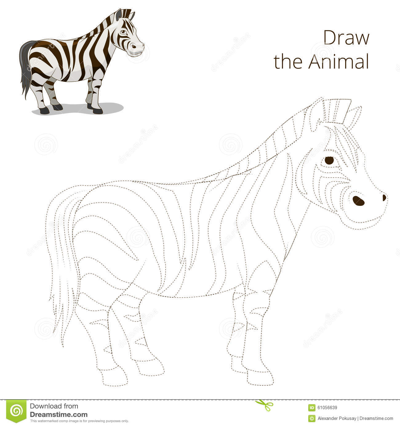 ... the animal educational game for children zebra vector illustration