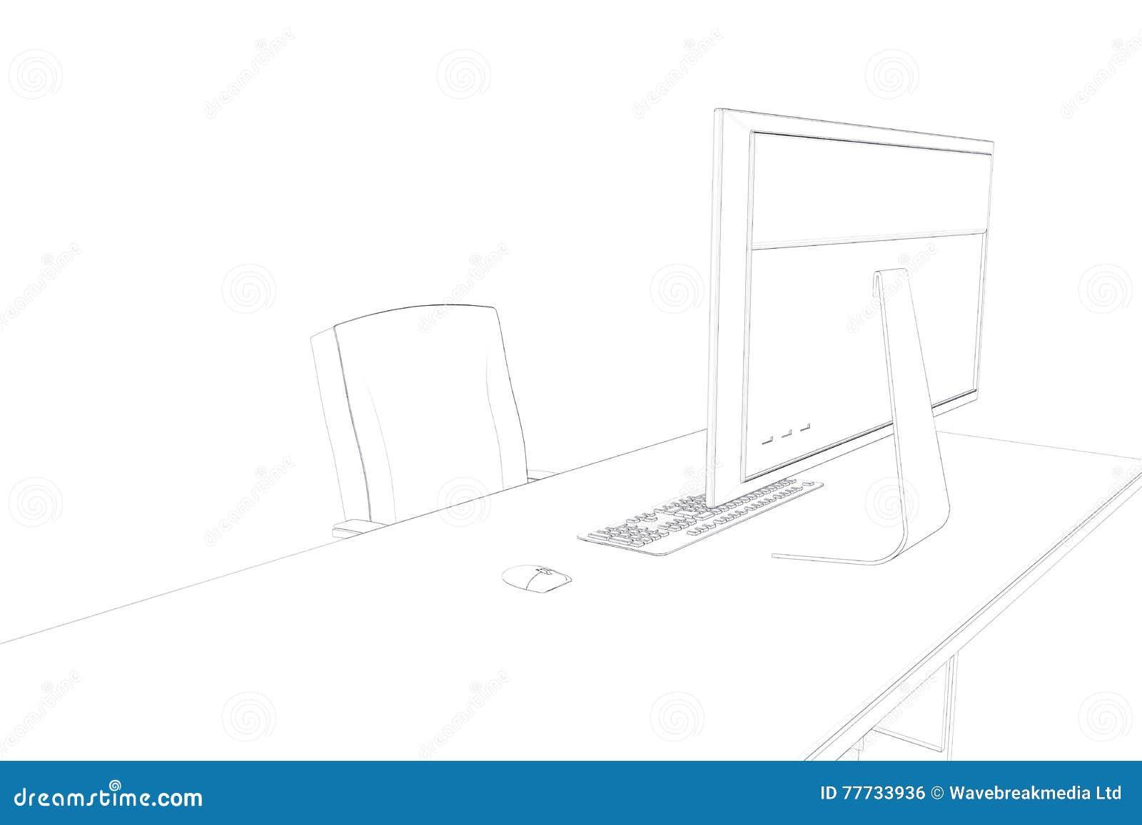 Draw Of A Desk Stock Illustration Illustration Of People 77733936