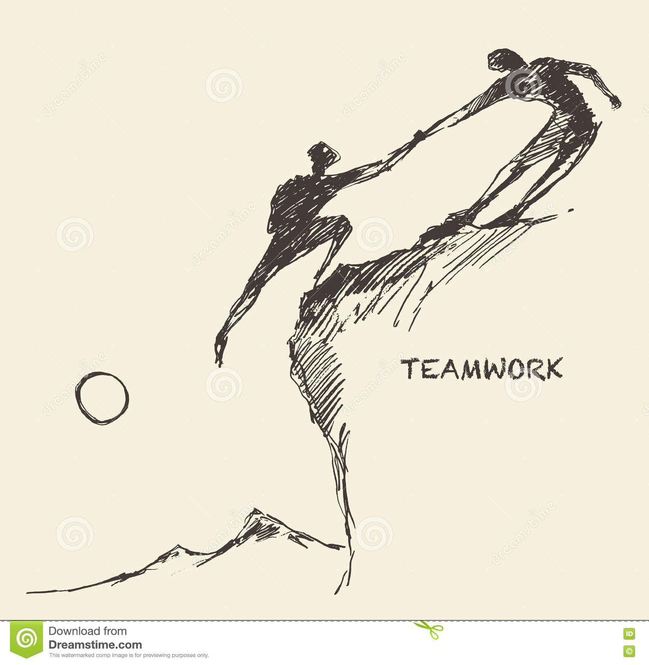 Draw helping man climb teamwork partnership sketch