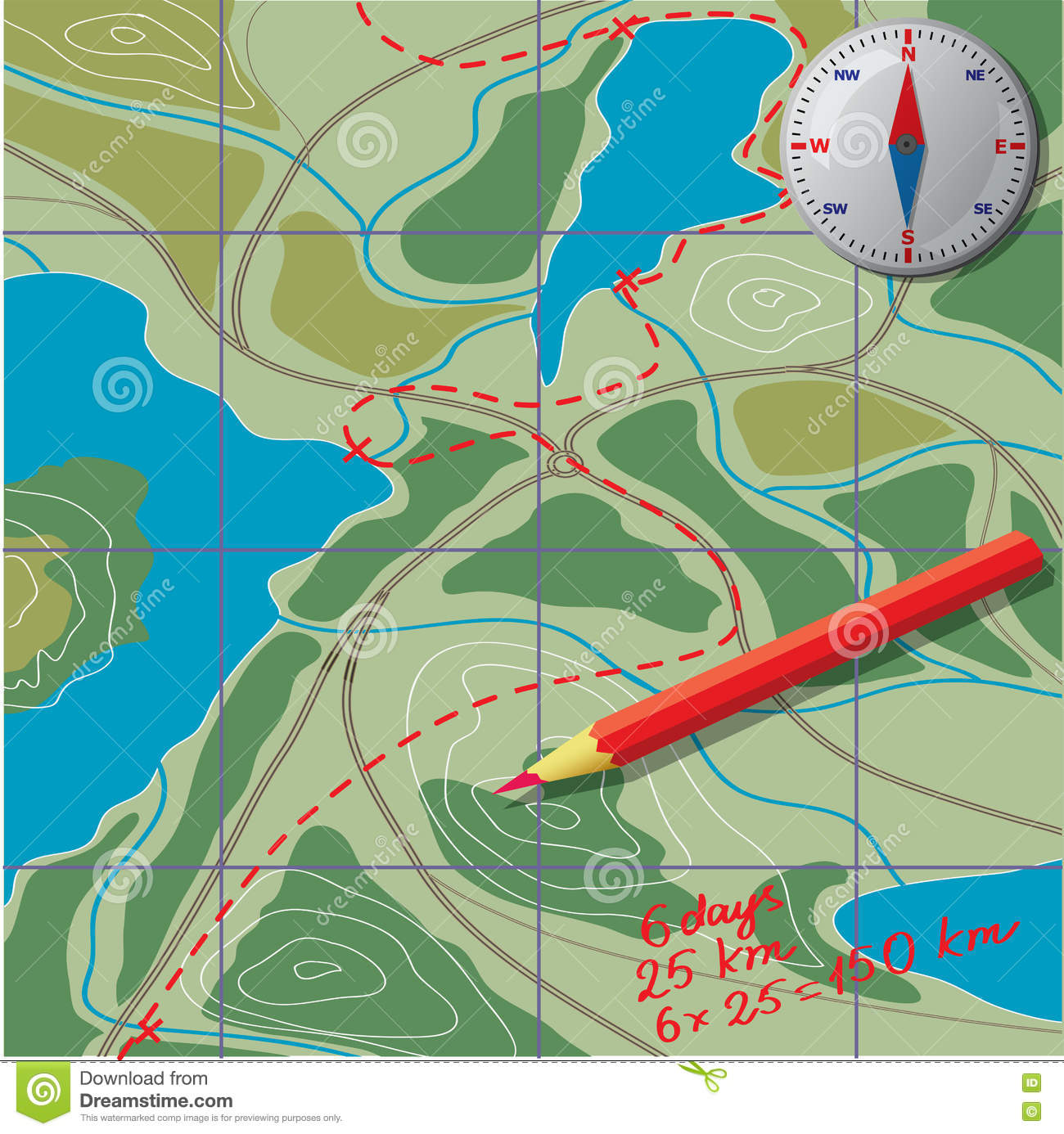 We Draw On The Map, Calculate The Distance. Stock Vector ... Draw Map Route on