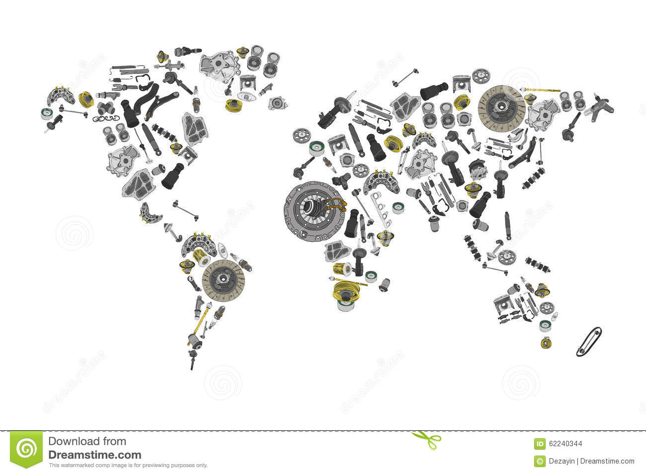 Draw A Map Of The World Made Up Of Spare Parts Stock Vector ...