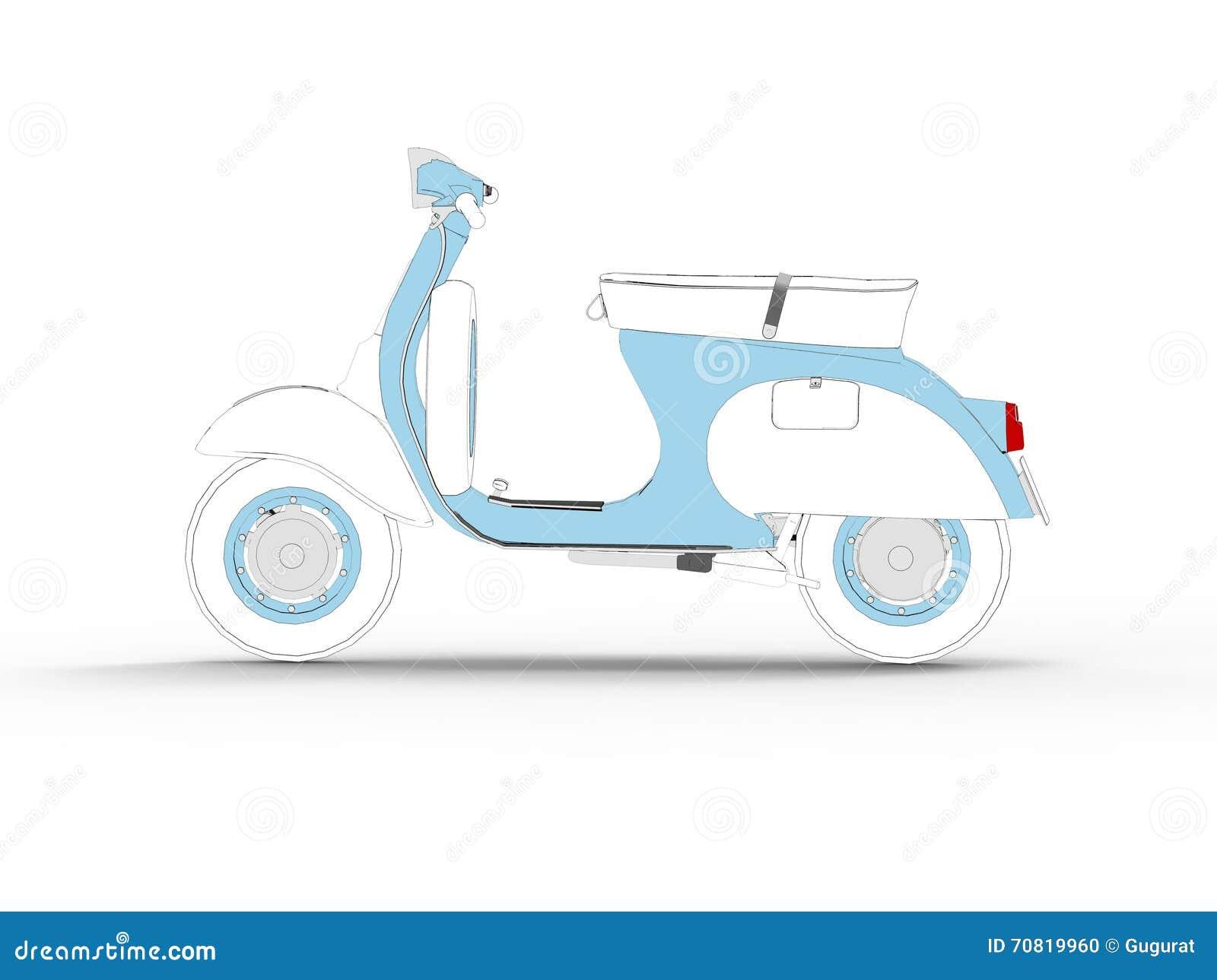 Draw Motor Scooter Symbol stock illustration. Illustration of land ...