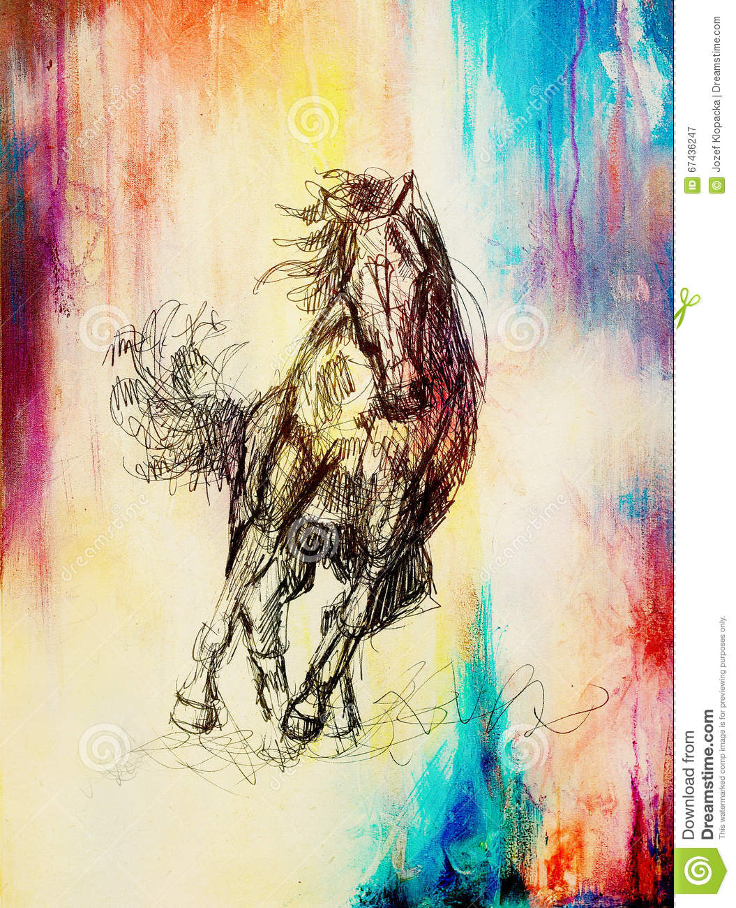 Draw Pencil Horse On Old Paper Vintage Paper And Old Structure With Color Spots Stock Illustration Illustration Of Beautiful Abstract 67436247