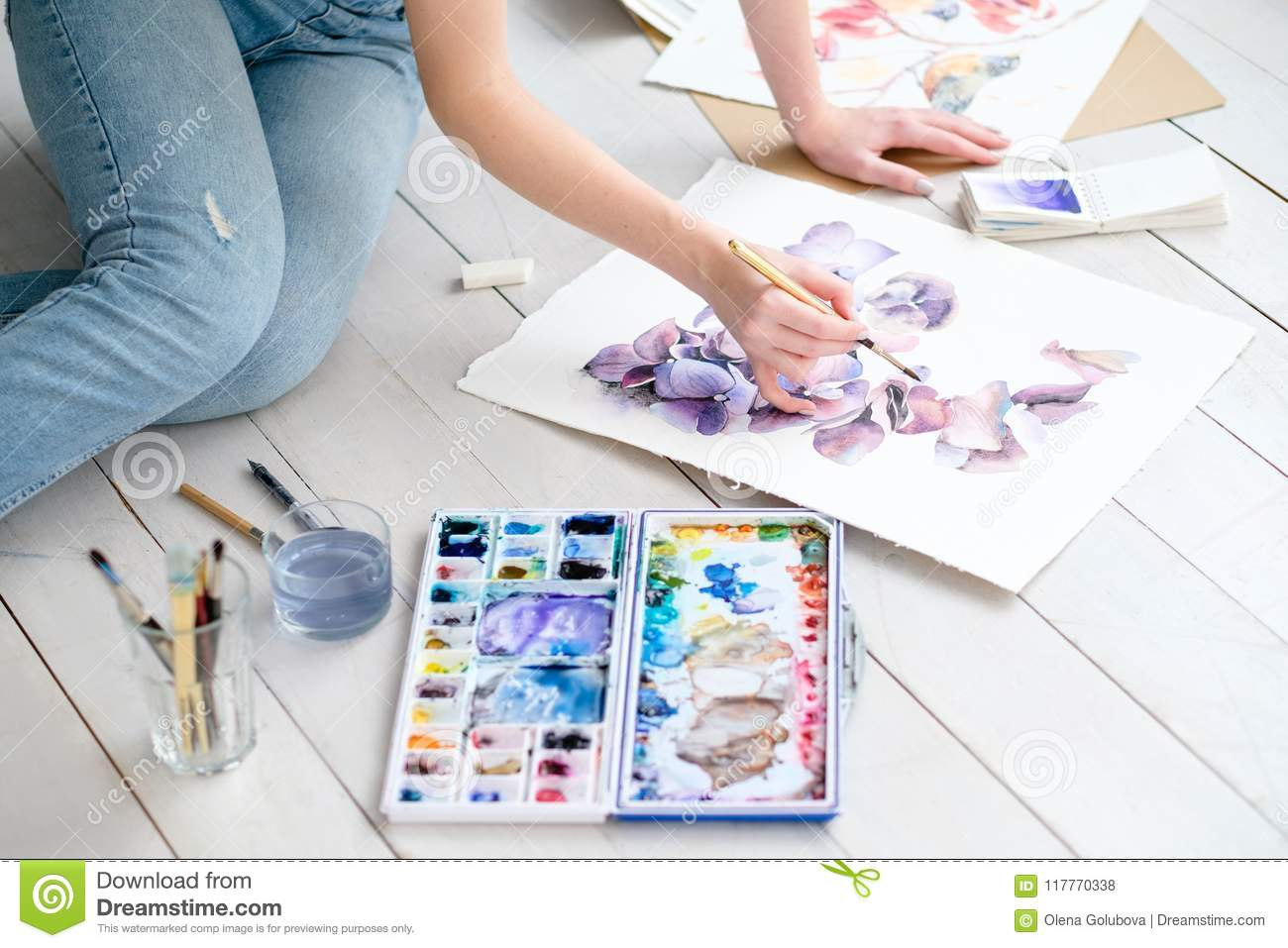 Draw Skill Artful Paint Leisure Watercolor Picture Stock Photo Image Of Artist Expression 117770338