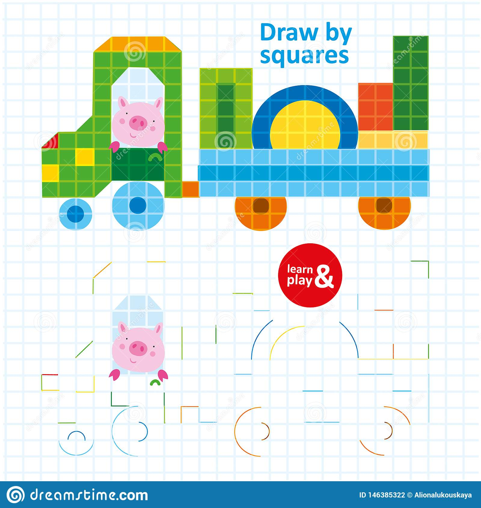 Draw By Squares Pig In Color Car Art Kid Game Stock Vector ...