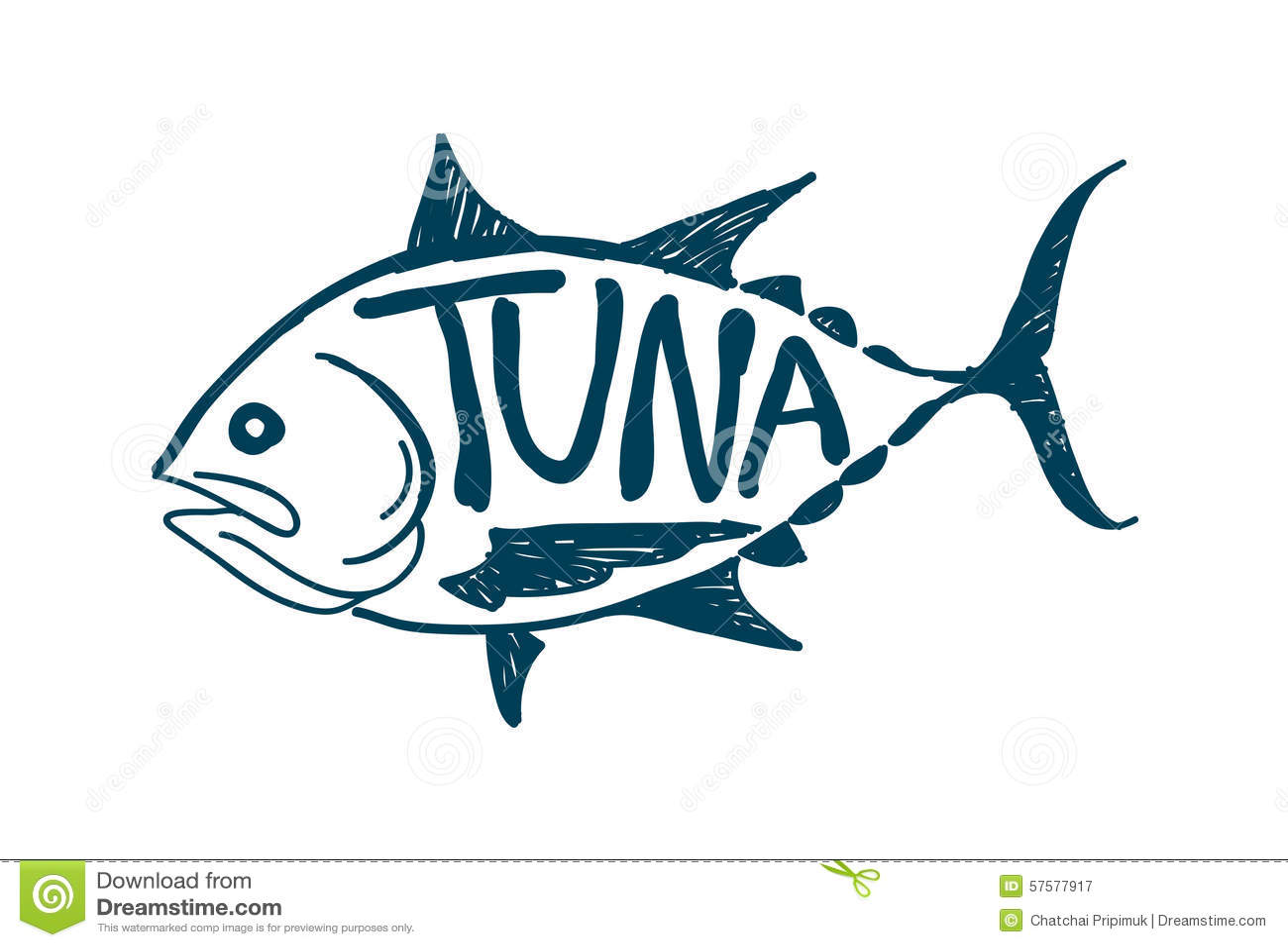 Draw Tuna Fish Vector Stock Vector Image 57577917