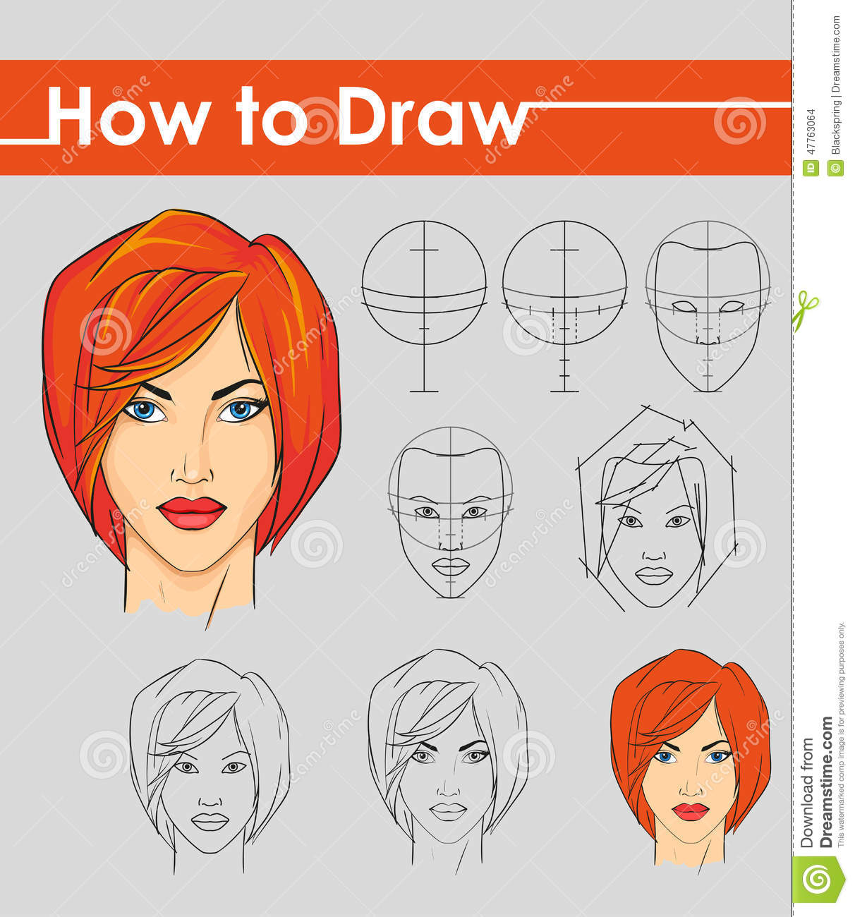 Draw tutorial step by step stock vector illustration for Drawing tutorials step by step