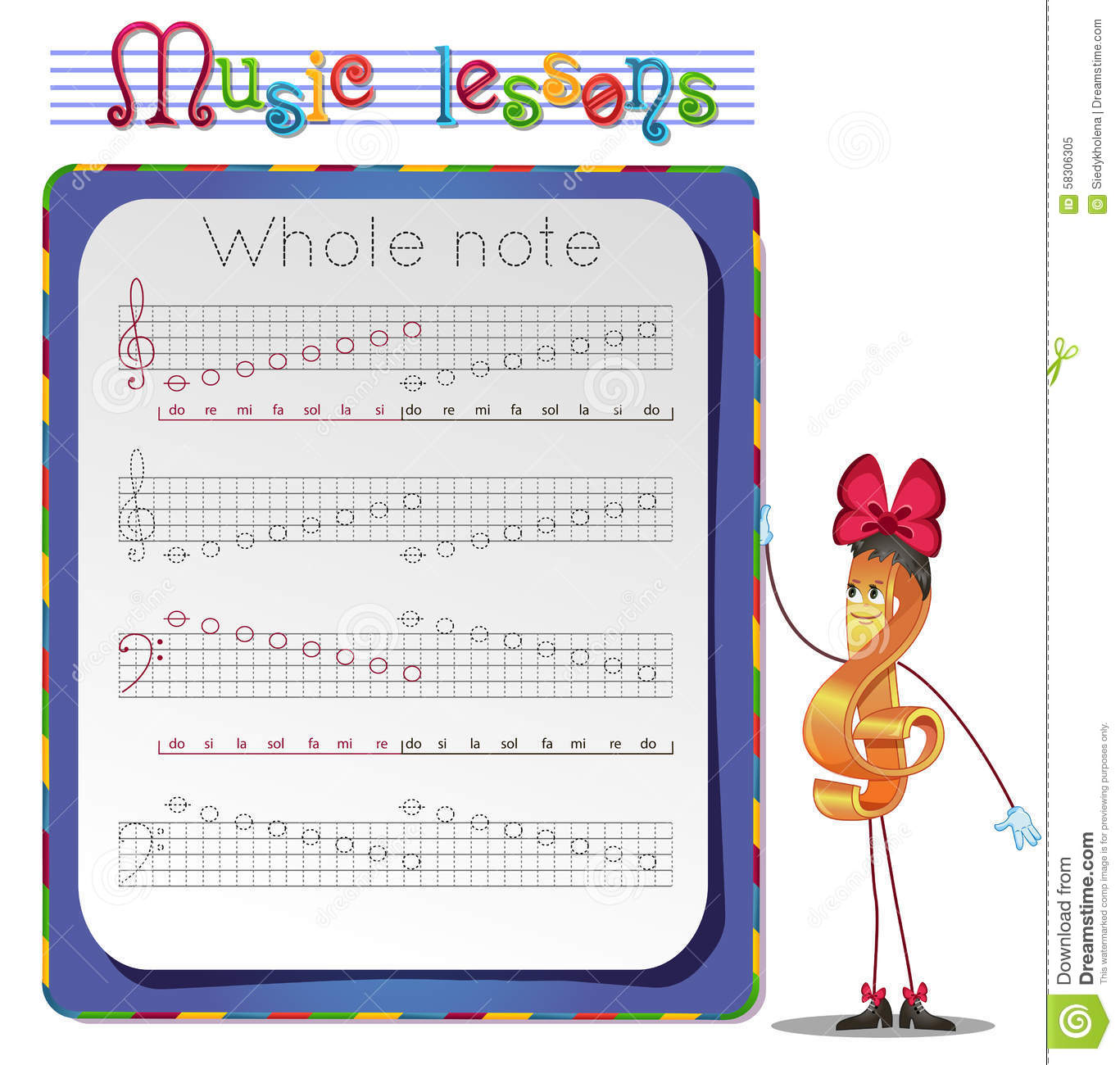 Draw A Whole Notes Stock Illustration Illustration Of Lessons