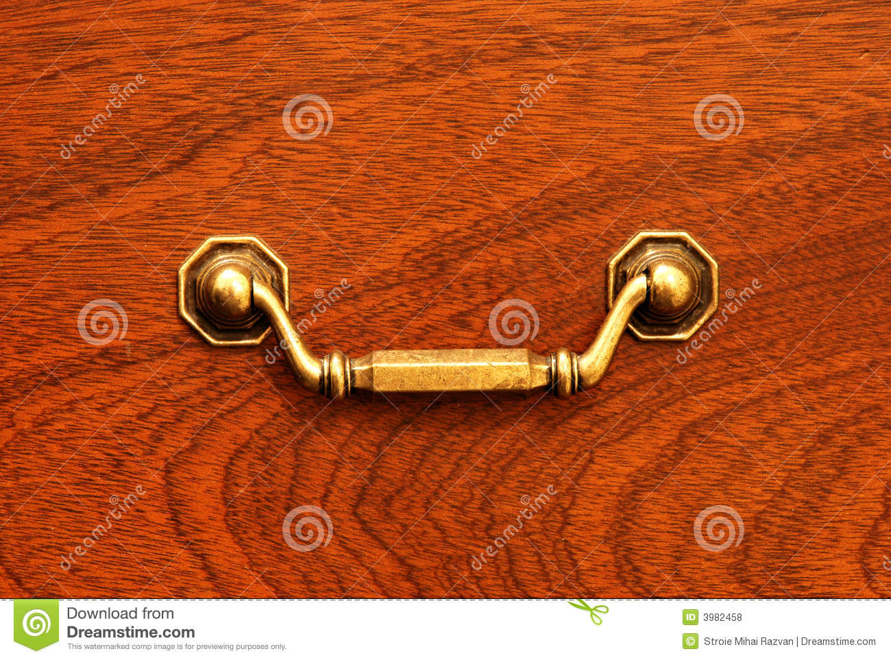 Drawer Front With Antique Drawer Handle Stock Photo - Image of ...