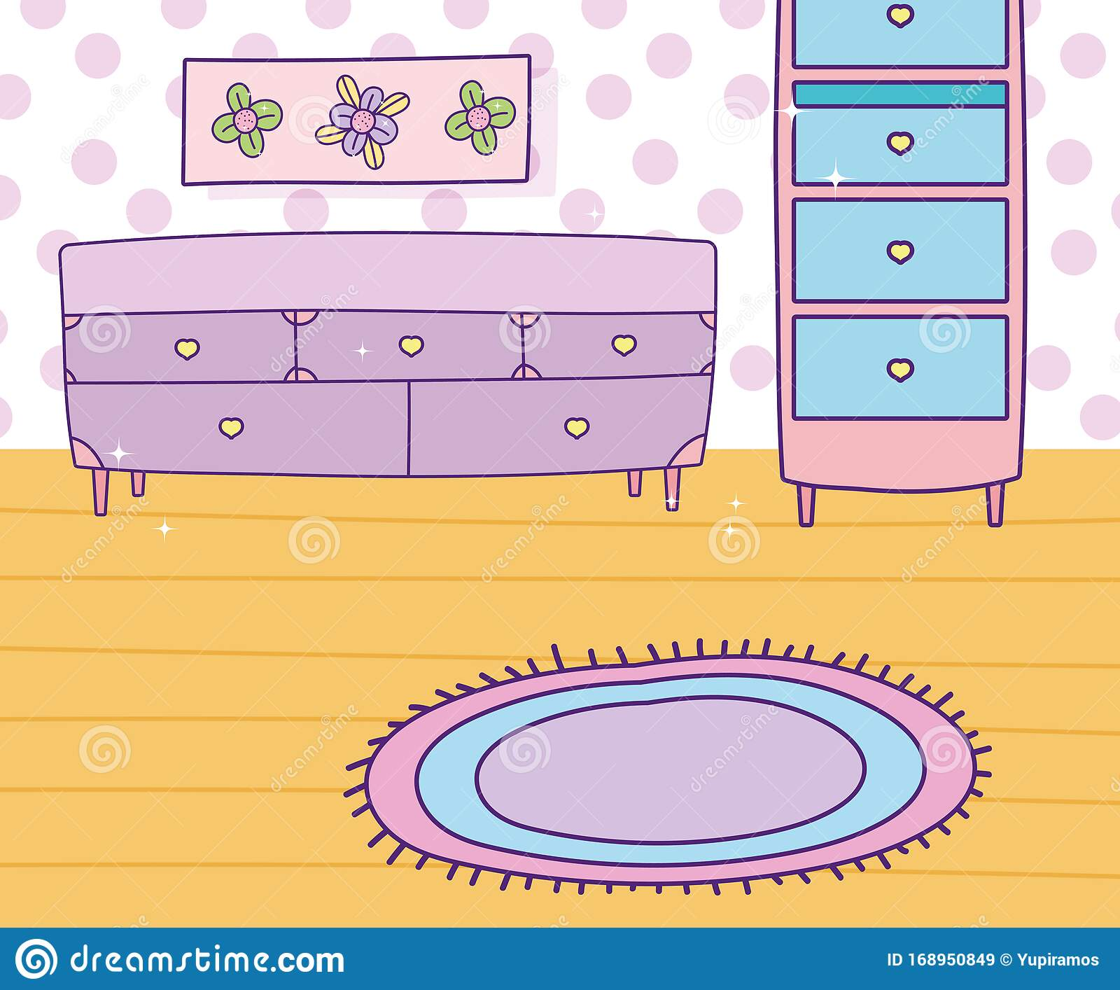 Drawer Furniture Cabinet Picture Flowers Carpet Dotted Wall Stock Vector Illustration Of Flower Wall 168950849