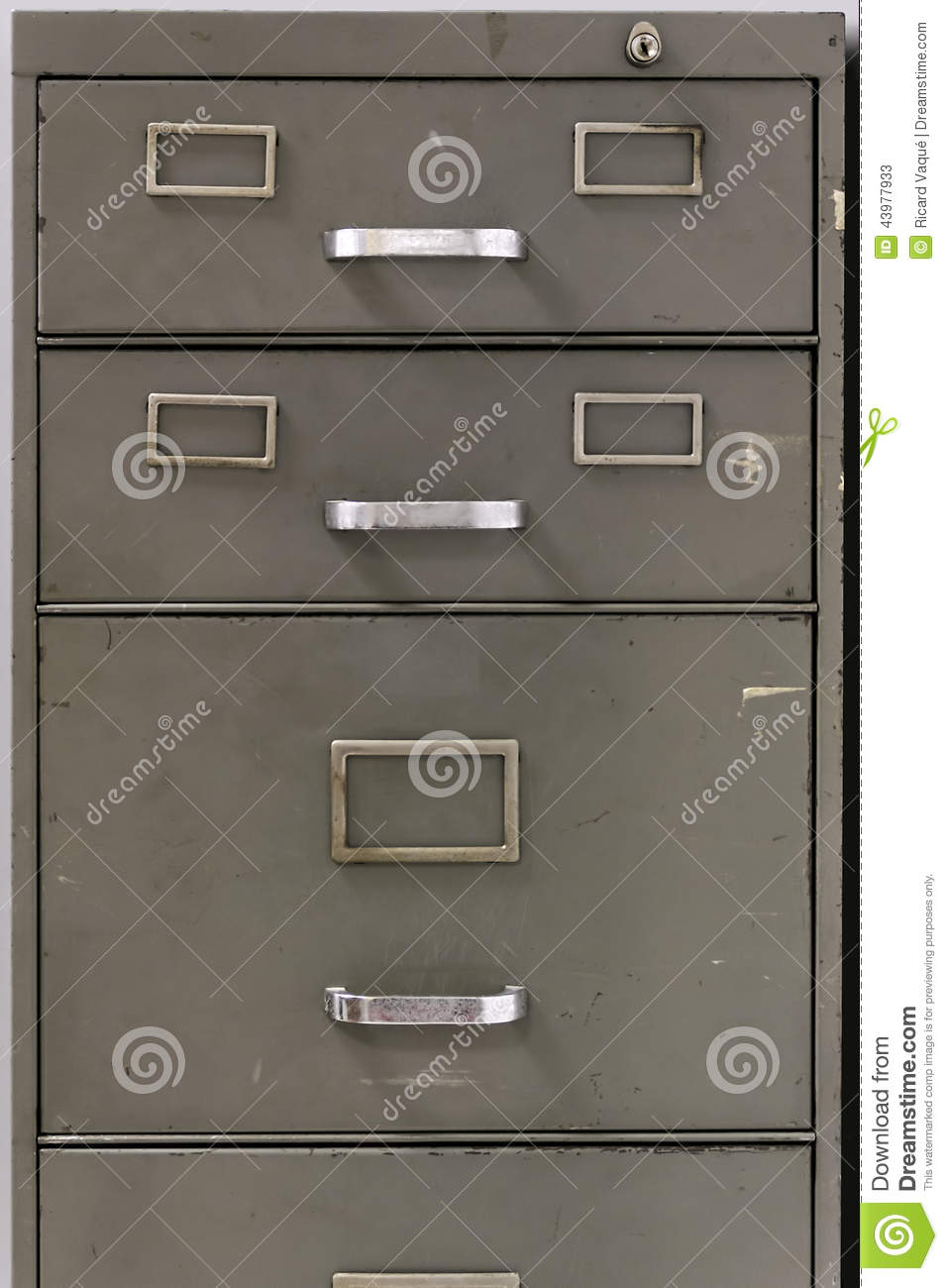 Drawers Of An Old Metal Filing Cabinet Stock Photo Image