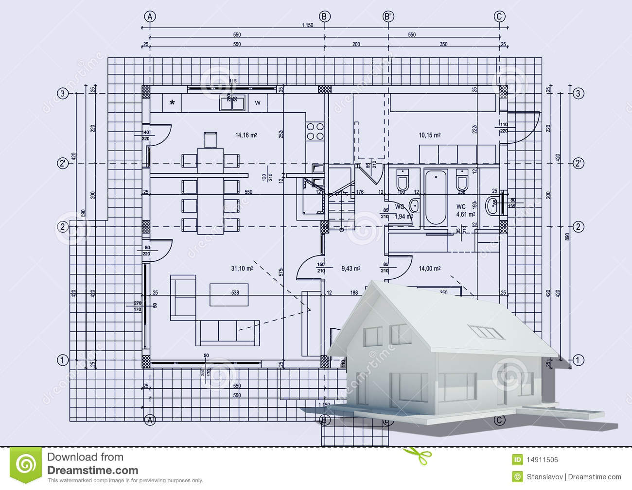 Drawing with 3d house stock illustration image of House plan drawing 3d