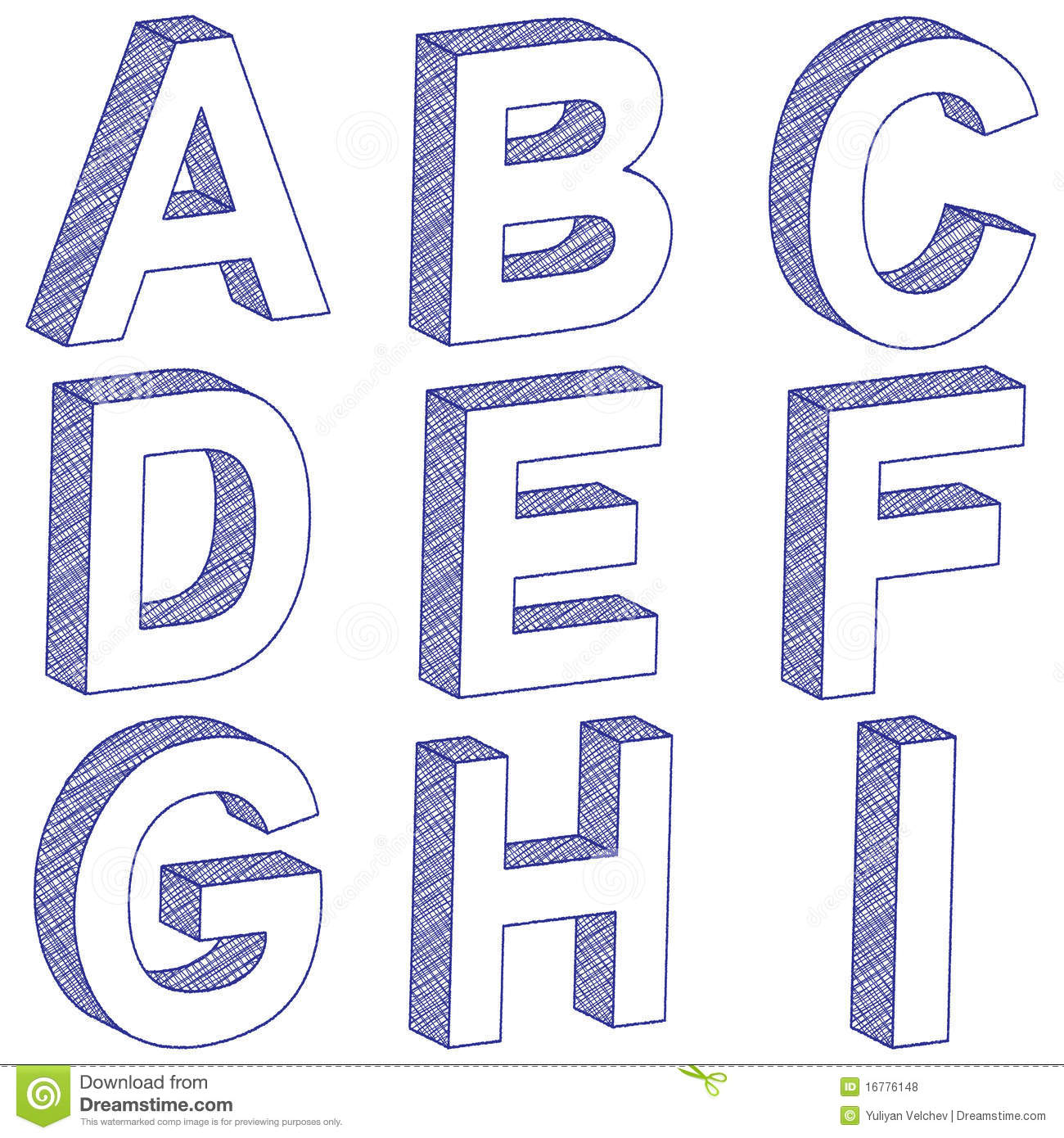 3D scratch letters from A to I on a white background. Vector illustration.