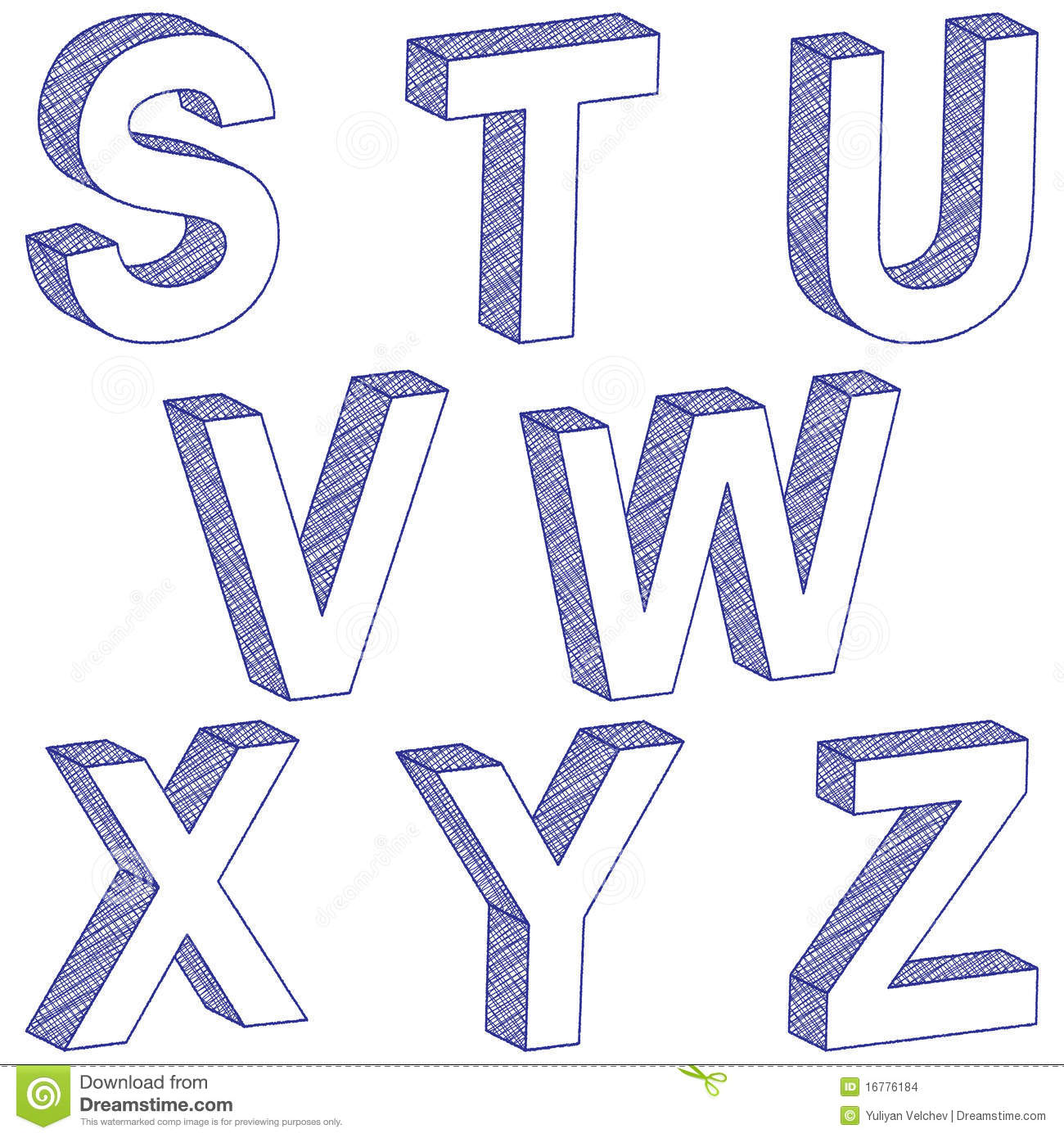 how to draw letters in 3d drawing 3d letter s z stock vector illustration of object 24778