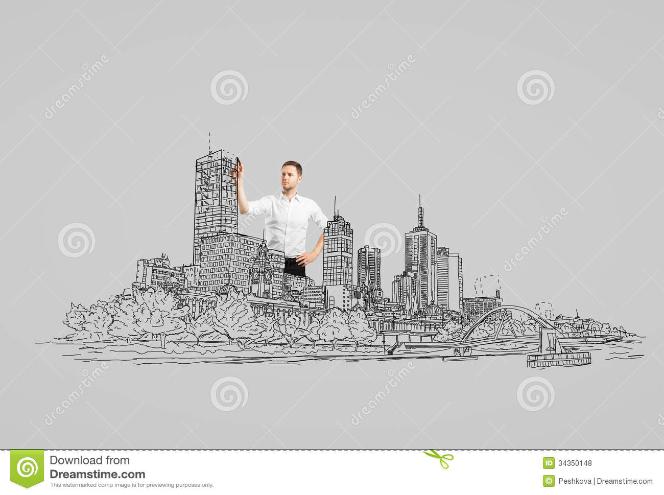 drawing abstract city royalty free stock photos