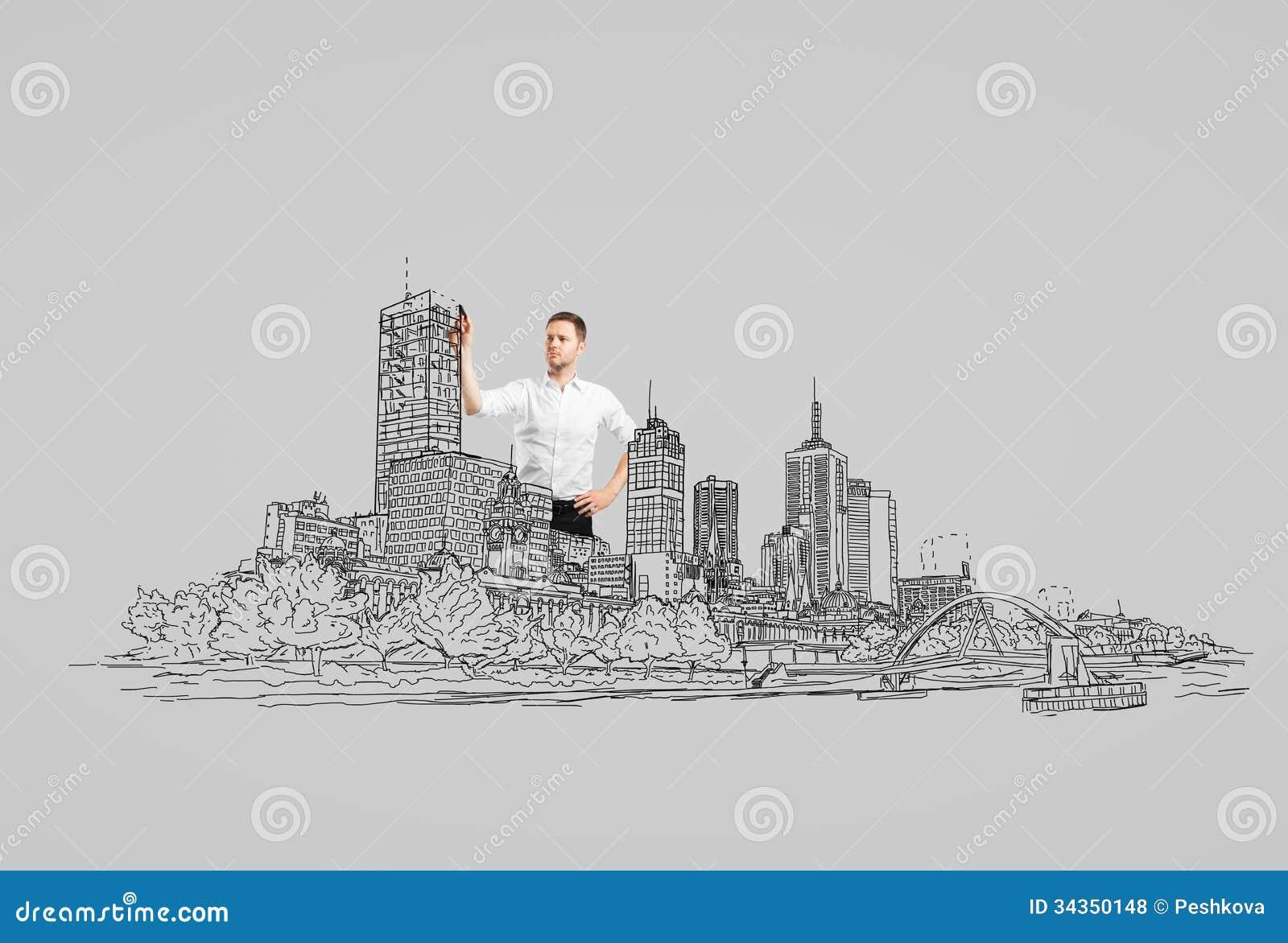 drawing abstract city royalty free stock photos