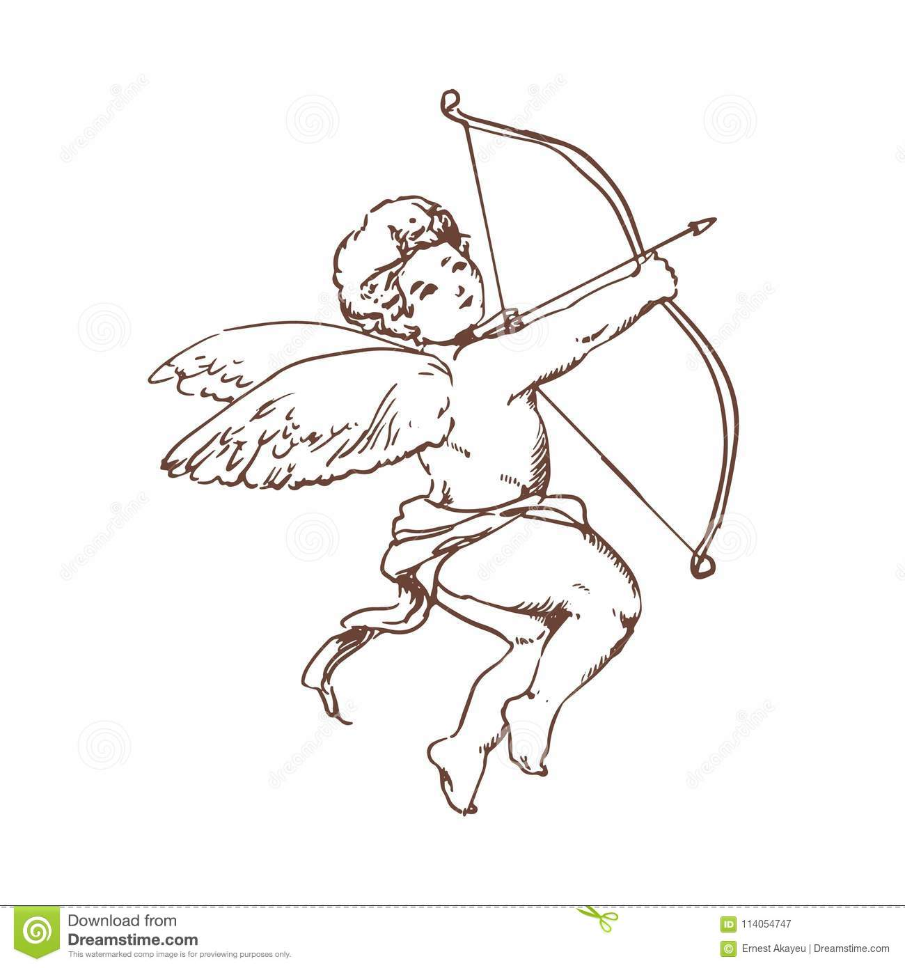 Drawing of adorable Cupid with bow aiming or shooting arrow isolated on white background. God of romantic love, passion