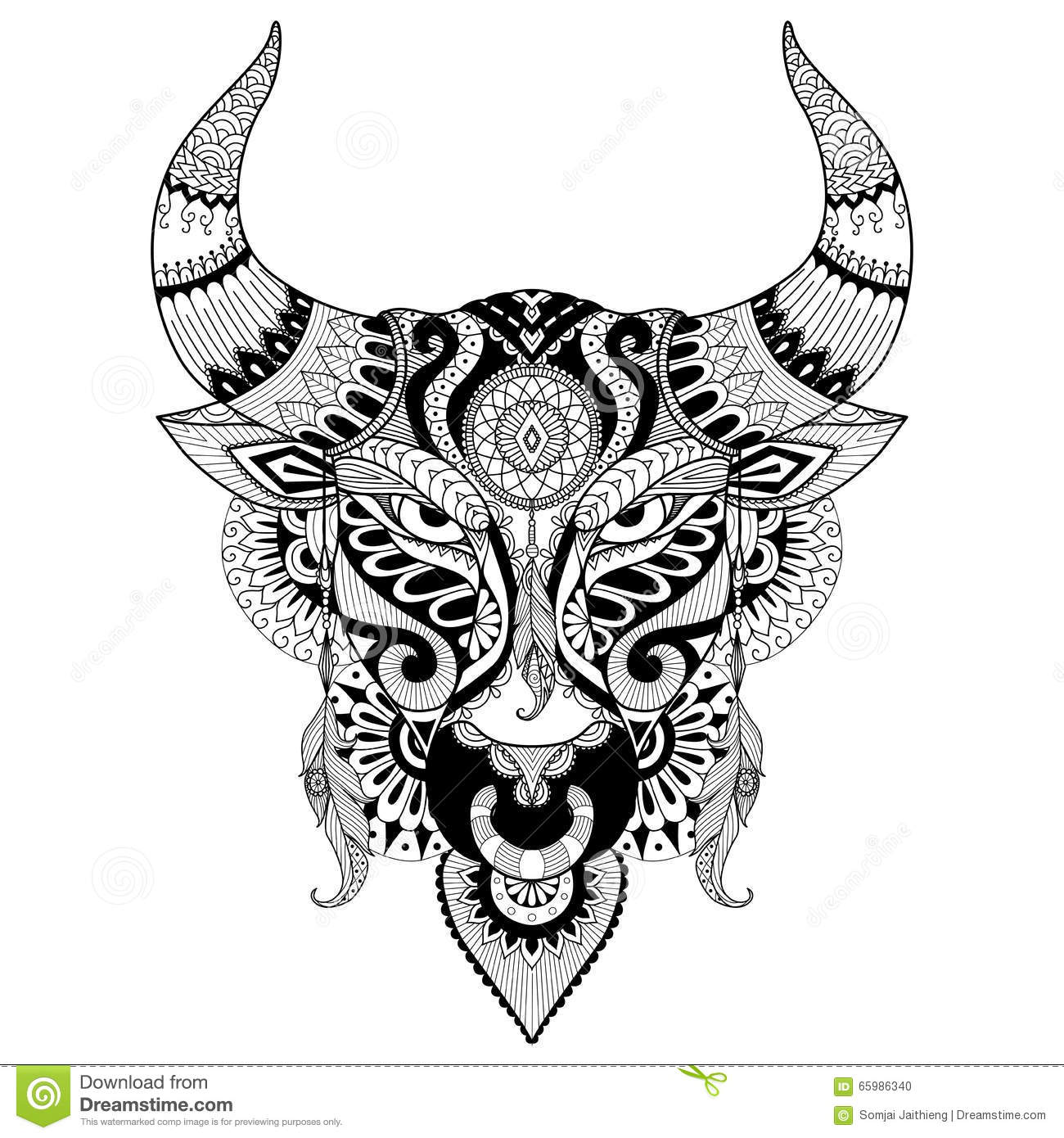 Drawing Angry Bull For Coloring Book For Adult Tattoo T Shirt