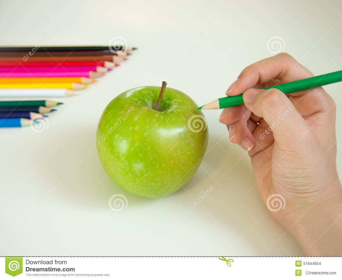 Looks like drawing an apple with the colored pencil