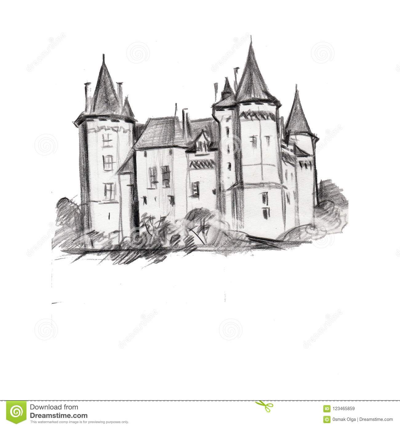 Drawing Of Architectural Structures Of The Ancien Medieval Tower