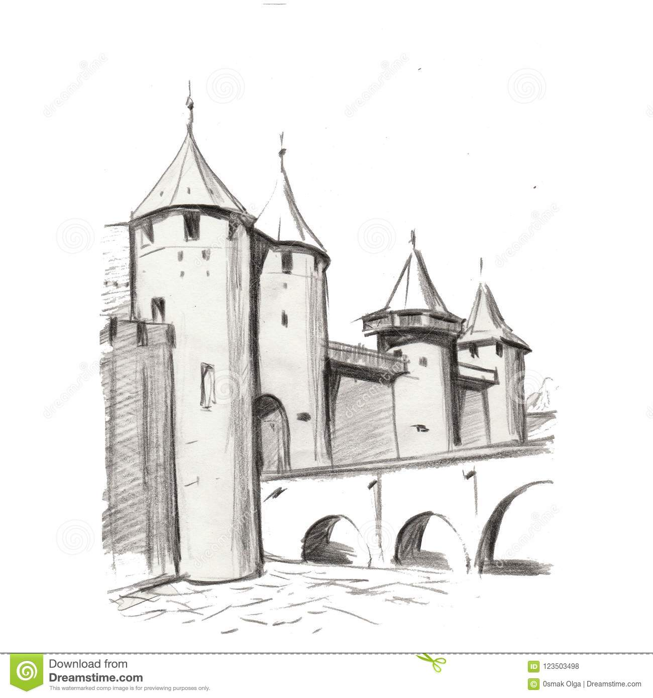 Drawing Of Architectural Structures Of The Ancien Medieval