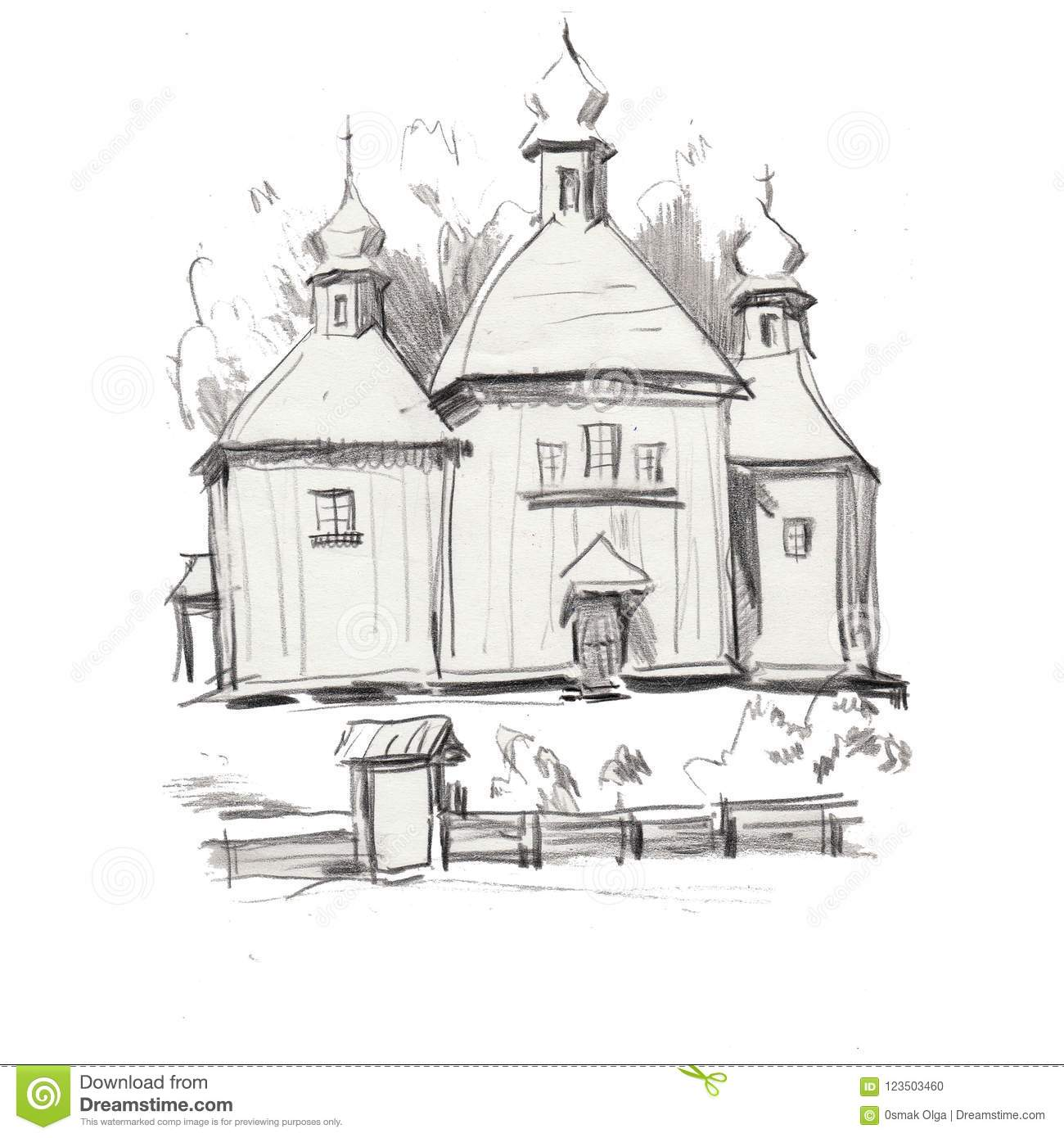 Drawing of architectural structures of the ancient wooden church in the rural landscape sketch handmade wooden church architecture building old