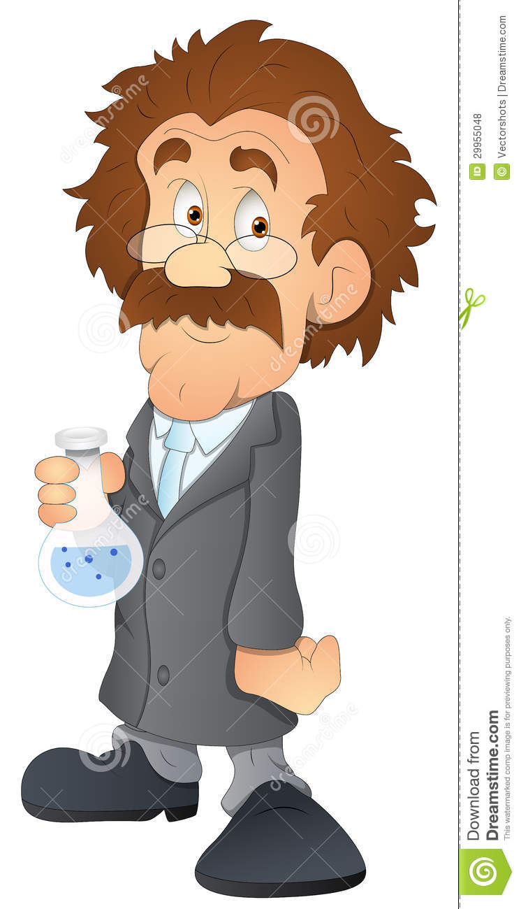 Drawing art of cartoon scientist character in lab vector illustration