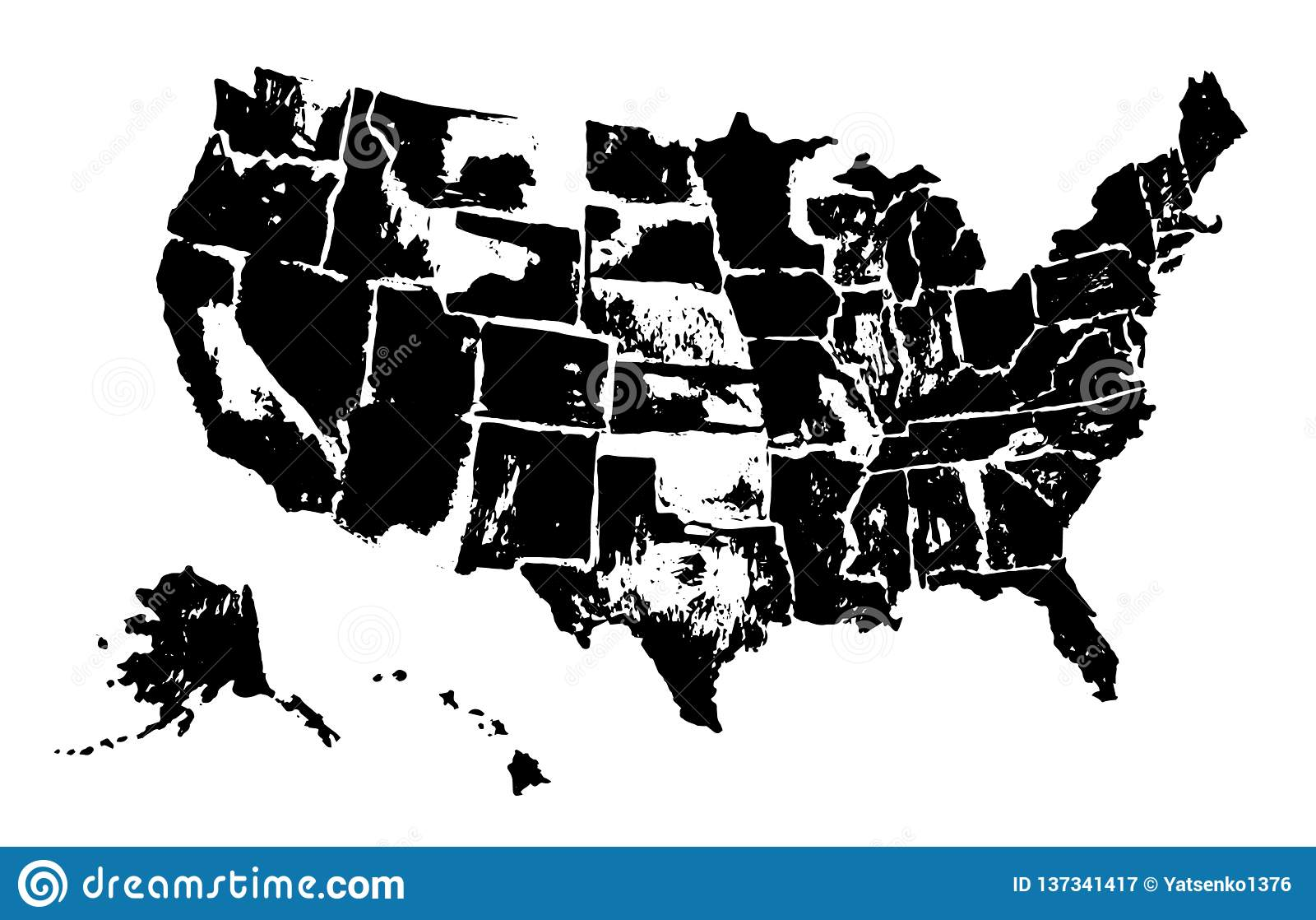 Map Of America Drawing.Drawing Art Map Of United States Of America Spot Stock Vector
