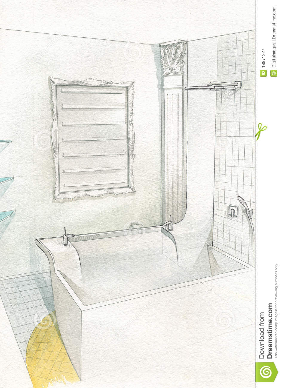 Drawing Bathroom Interior Stock Illustration Image Of Accessory 18871327