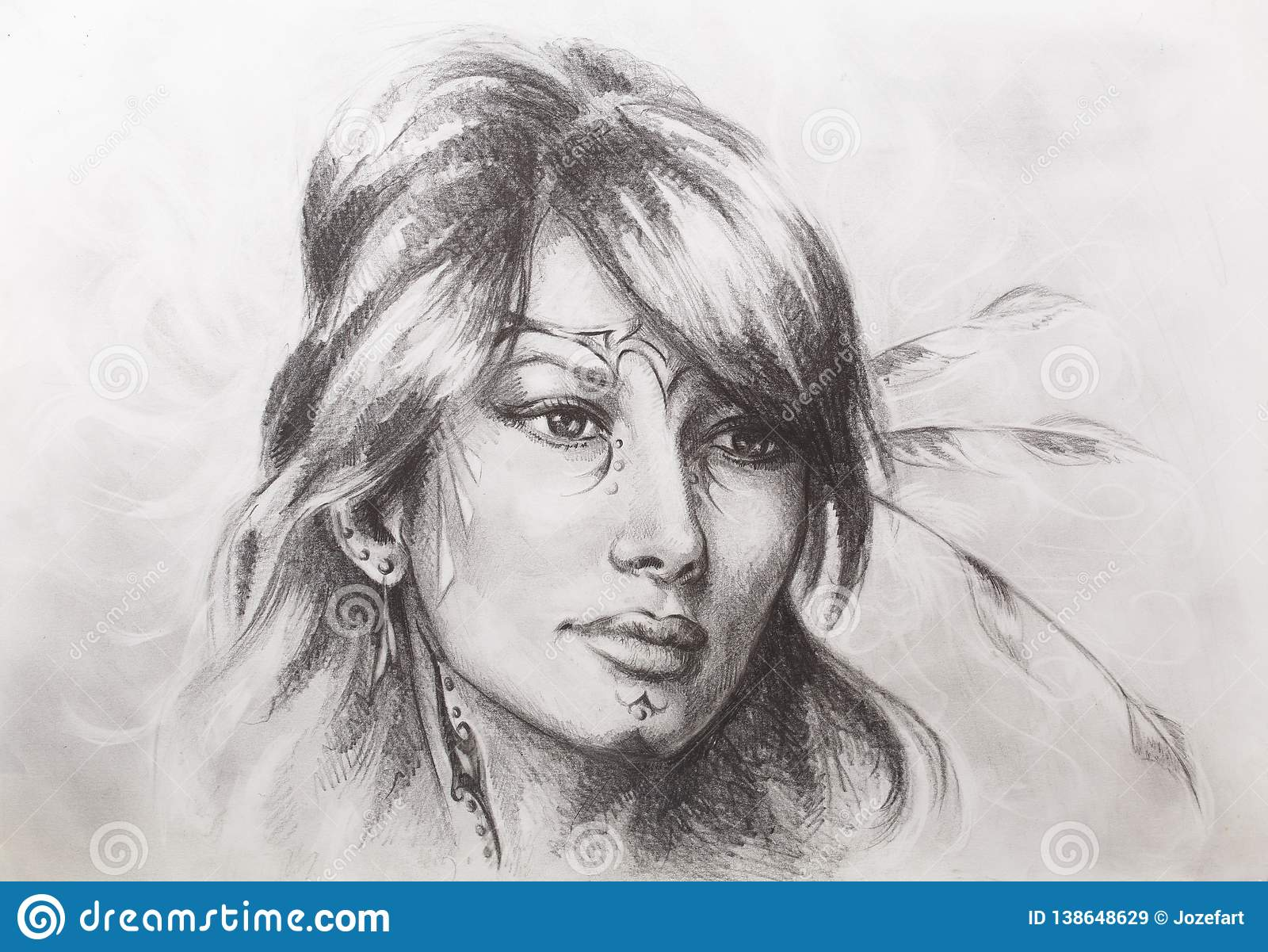 Drawing of beautiful contemplative indian woman face color effect