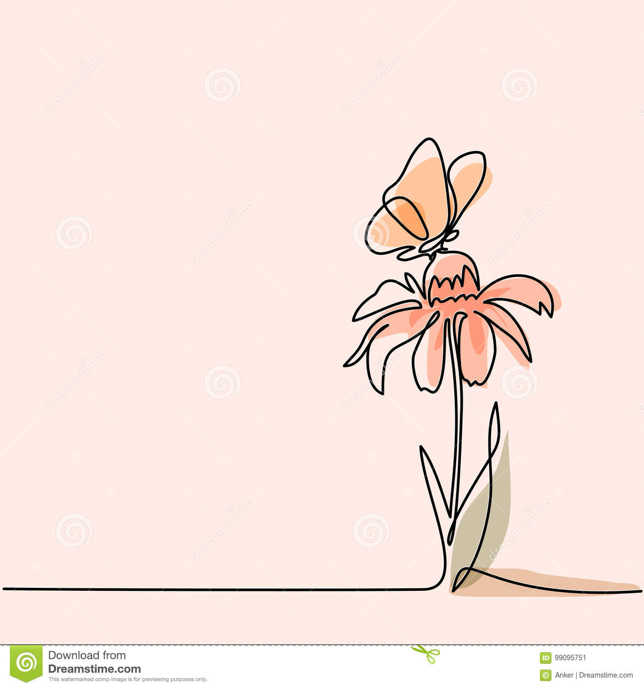 Drawing Of Beautiful Flower With Butterfly Stock Vector