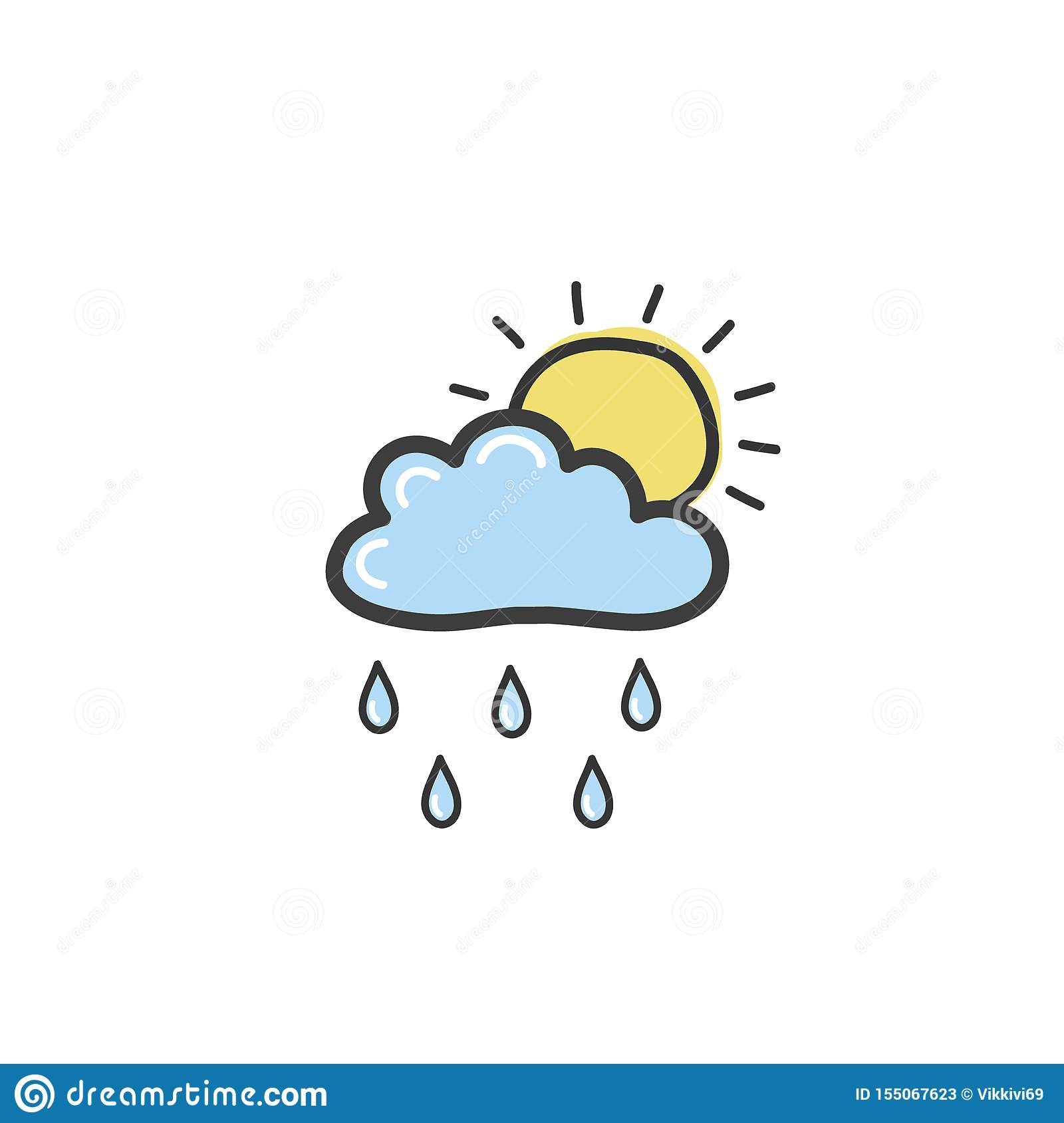 Drawing blue clouds with rain and sun. Symbol of weather. Vector hand drawn illustration in the doodle style