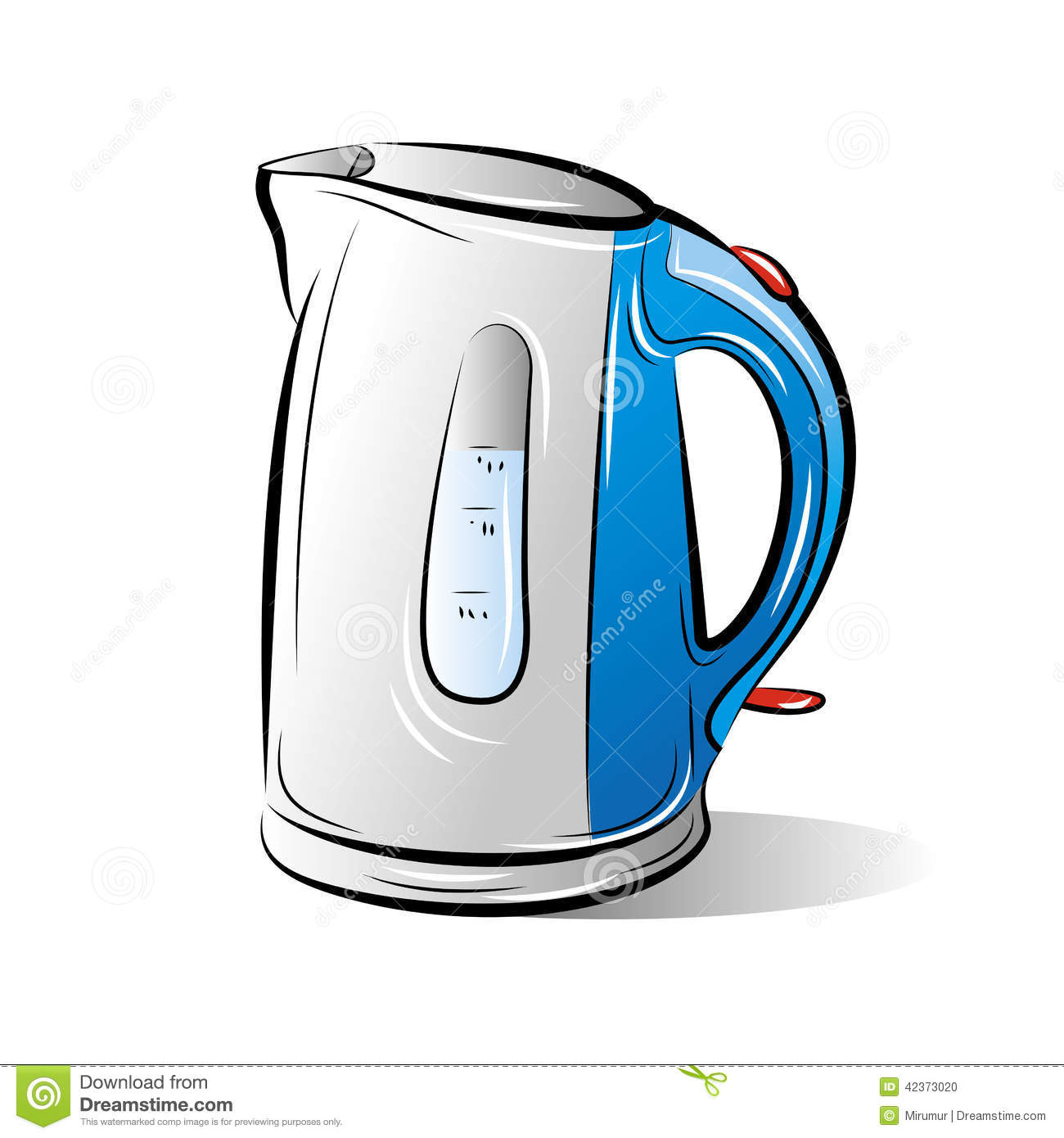Drawing Of The Blue Teapot Kettle Stock Vector - Image: 42373020