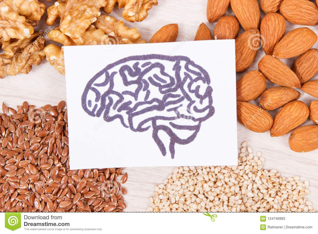 Drawing of brain and healthy food for power and good memory, nutritious eating containing vitamins and minerals