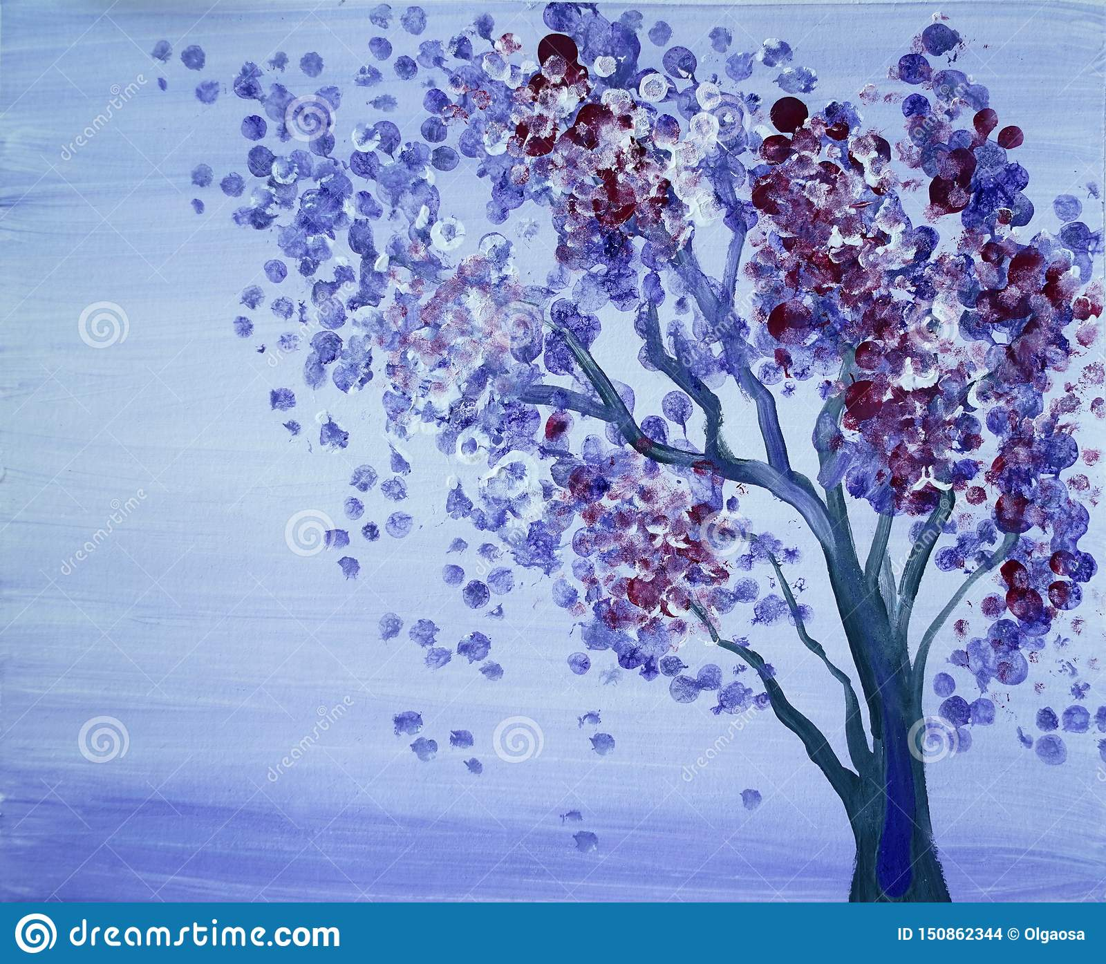 Drawing Of Bright Pink Purple Tree Blue Sky Stock Photo Image Of Painting Landscape 150862344