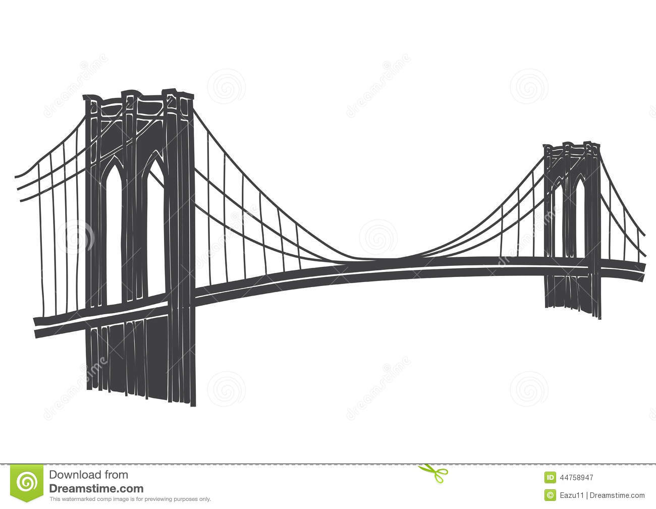 Drawing Of The Brooklyn Bridge In New York Stock Illustration - Image ...