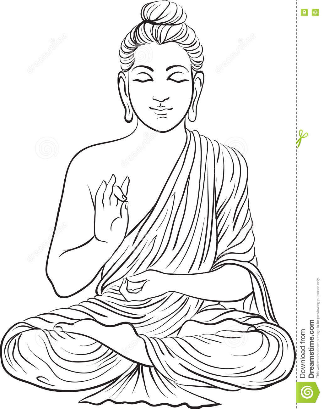 Drawing of a buddha statue stock vector illustration of asian 82217153 - Dessin de bouddha gratuit ...