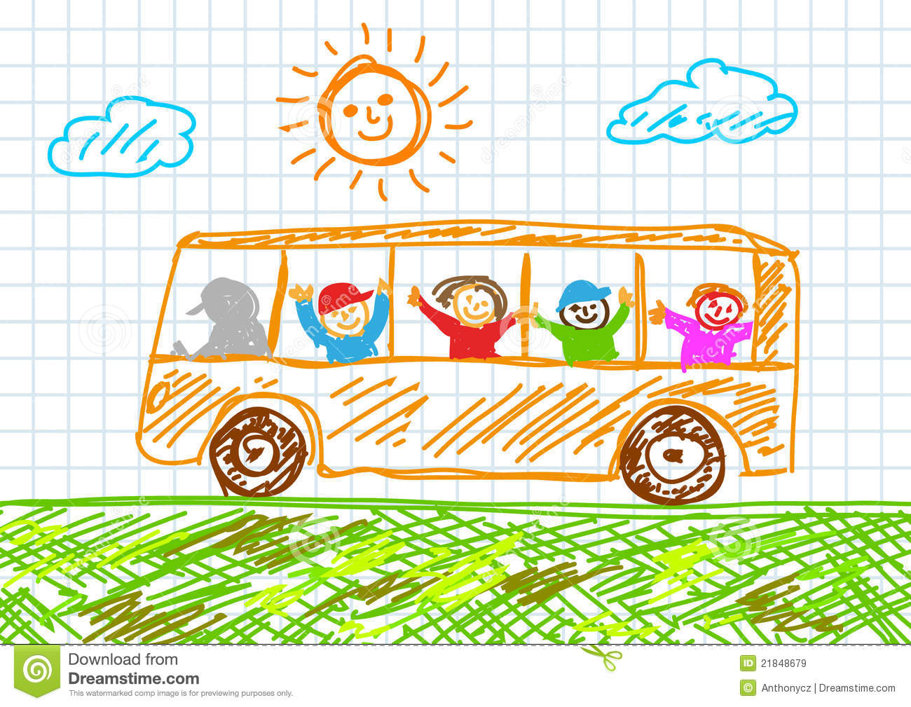 Drawing Of Bus Royalty Free Stock Images - Image: 21848679