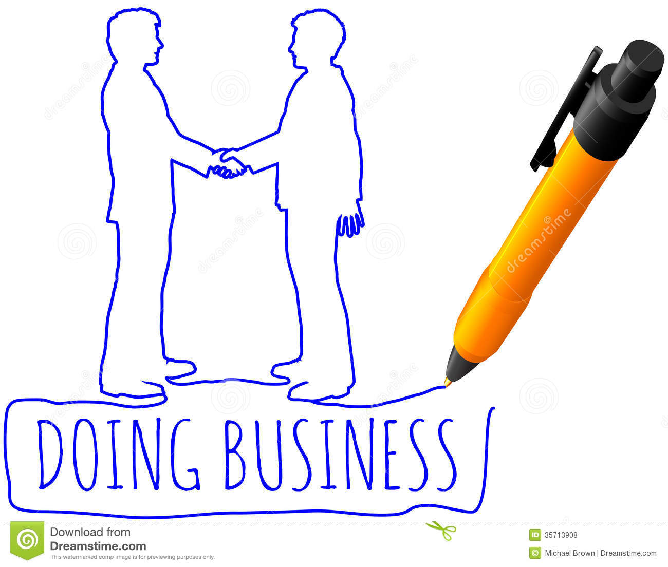 Drawing Business People Handshake Deal Royalty Free Stock
