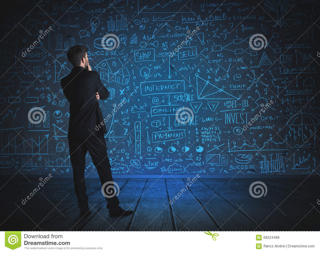 drawing businessman with economy project background stock