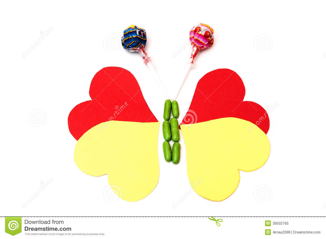 Drawing of a butterfly with hearts and candy