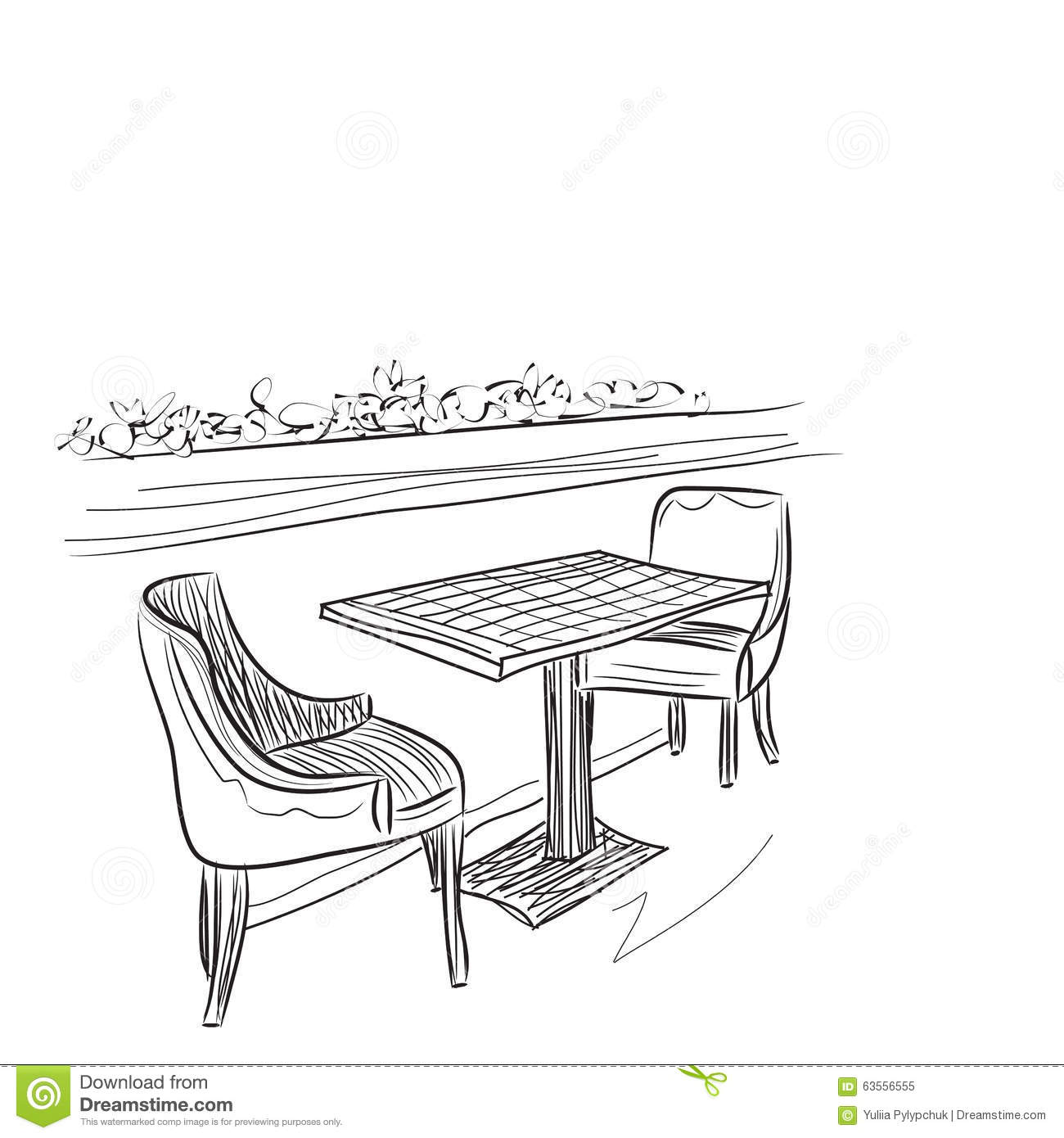 Cafe drawing interior - Drawing Cafe Interior Royalty Free Stock Photo