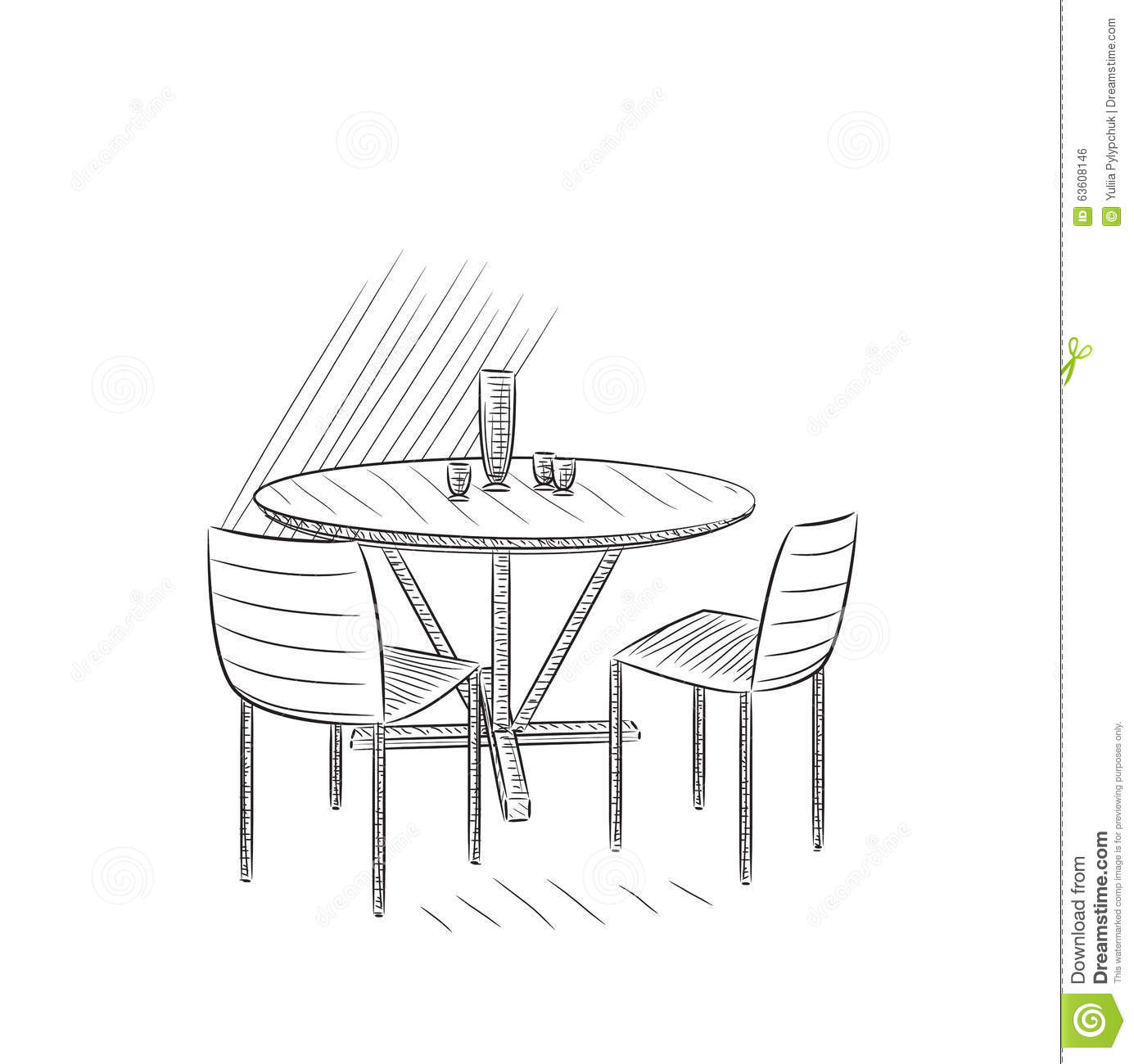 Drawing Cafe Interior. Stock Vector - Image: 63608146