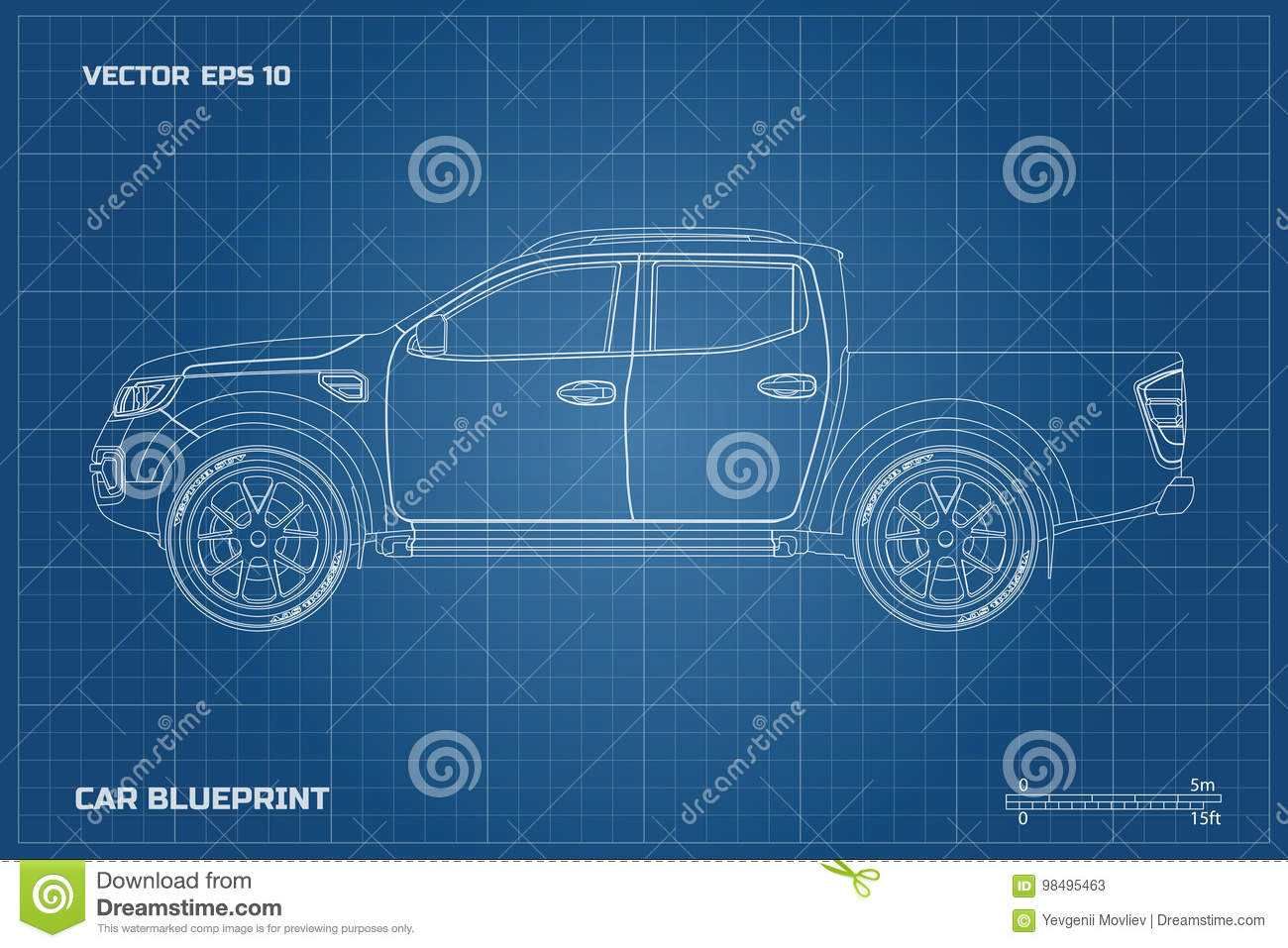 Drawing of the car on a blue background side view of pickup drawing of the car on a blue background side view of pickup industrial blueprint of suv royalty free vector malvernweather Image collections