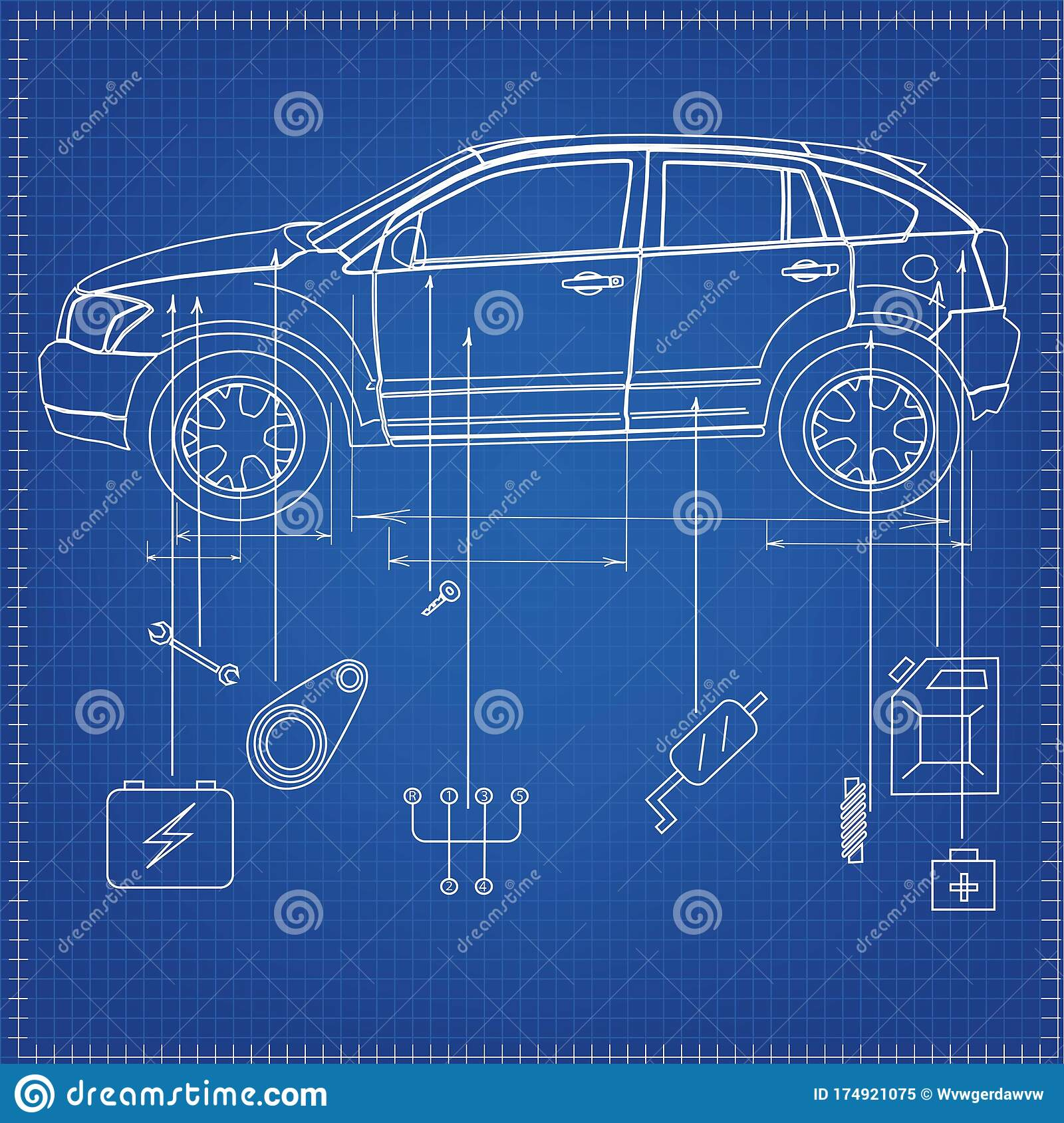 Diagram Of The Vehicle With Parts And Spare Parts On A Blue ...