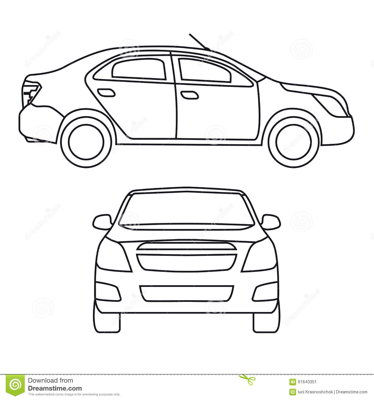 drawing car  vector illustration  side view and stock